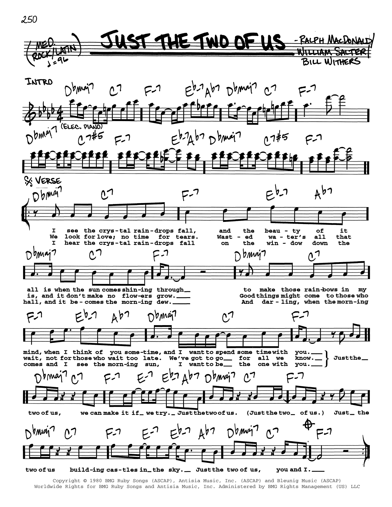 Just The Two Of Us sheet music for voice and other instruments (Vocal Volume 2) by William Salter
