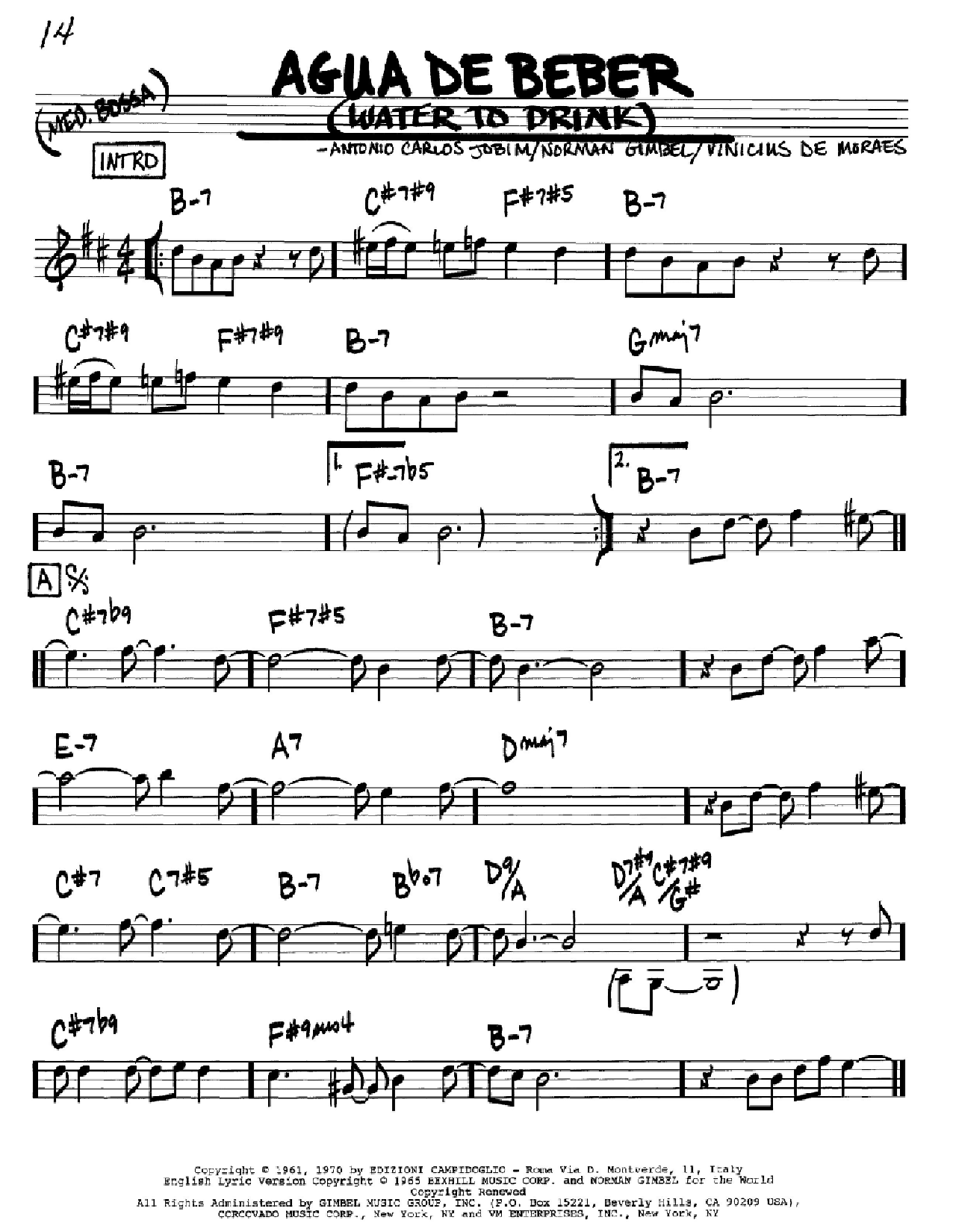 Agua De Beber (Water To Drink) sheet music for voice and other instruments (Bb) by Vinicius de Moraes