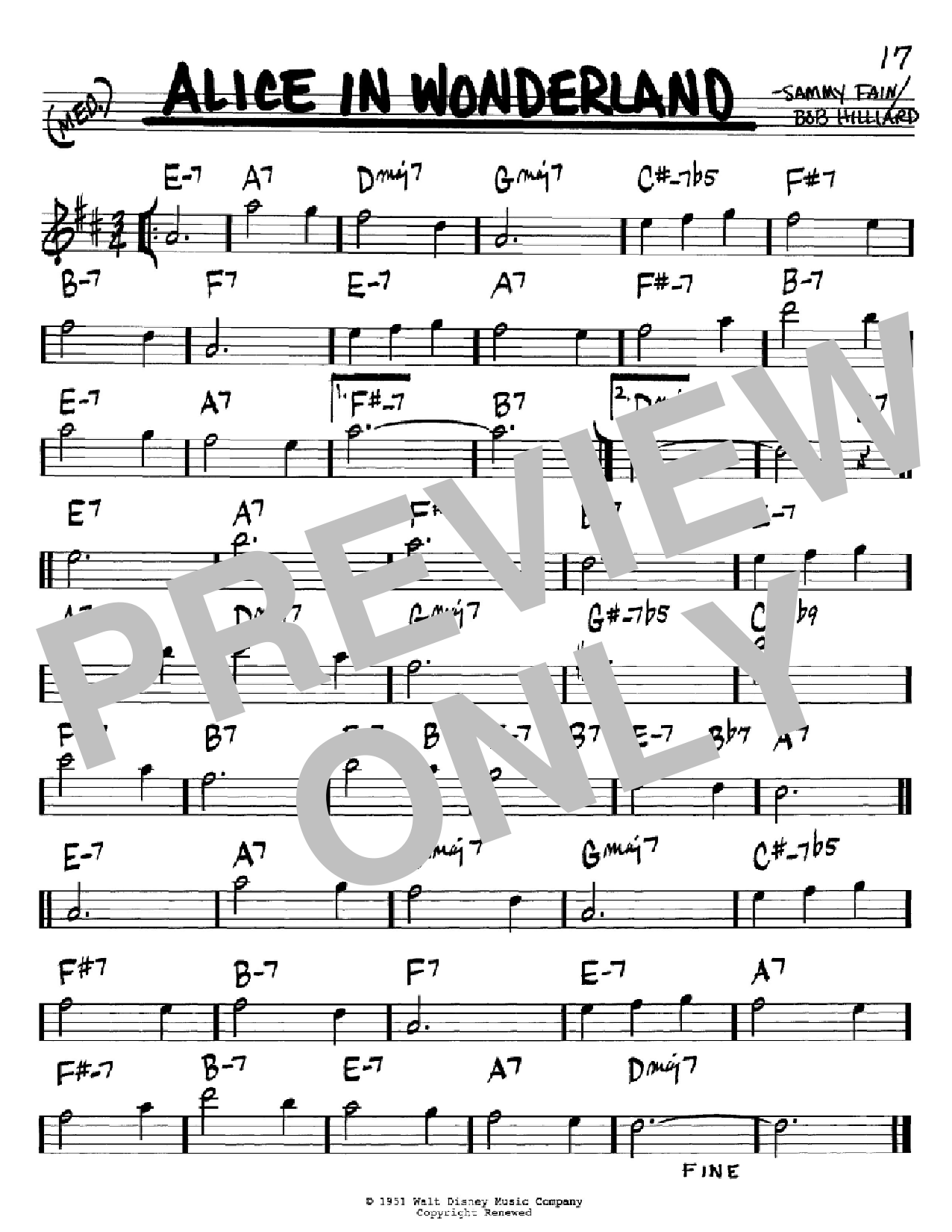Alice In Wonderland sheet music for voice and other instruments (Bb) by Sammy Fain