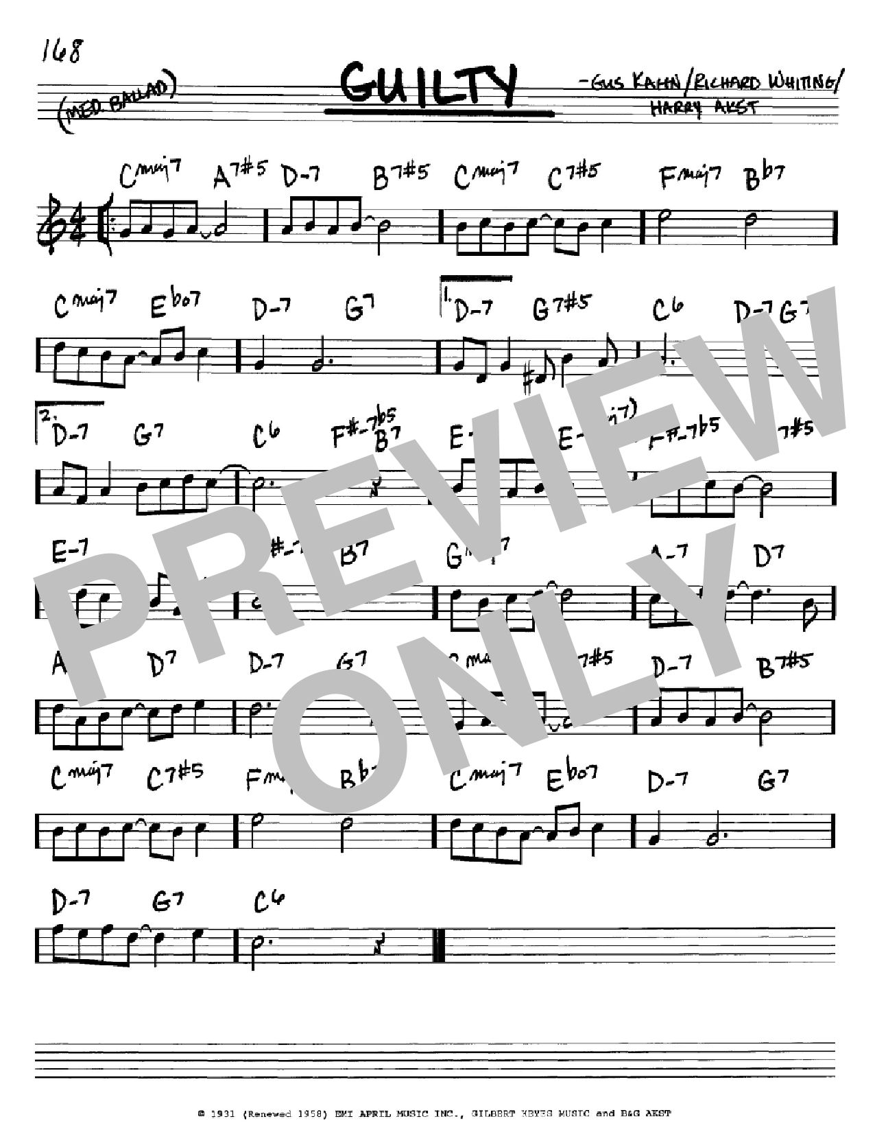 Guilty sheet music for voice and other instruments (Bb) by Richard A. Whiting