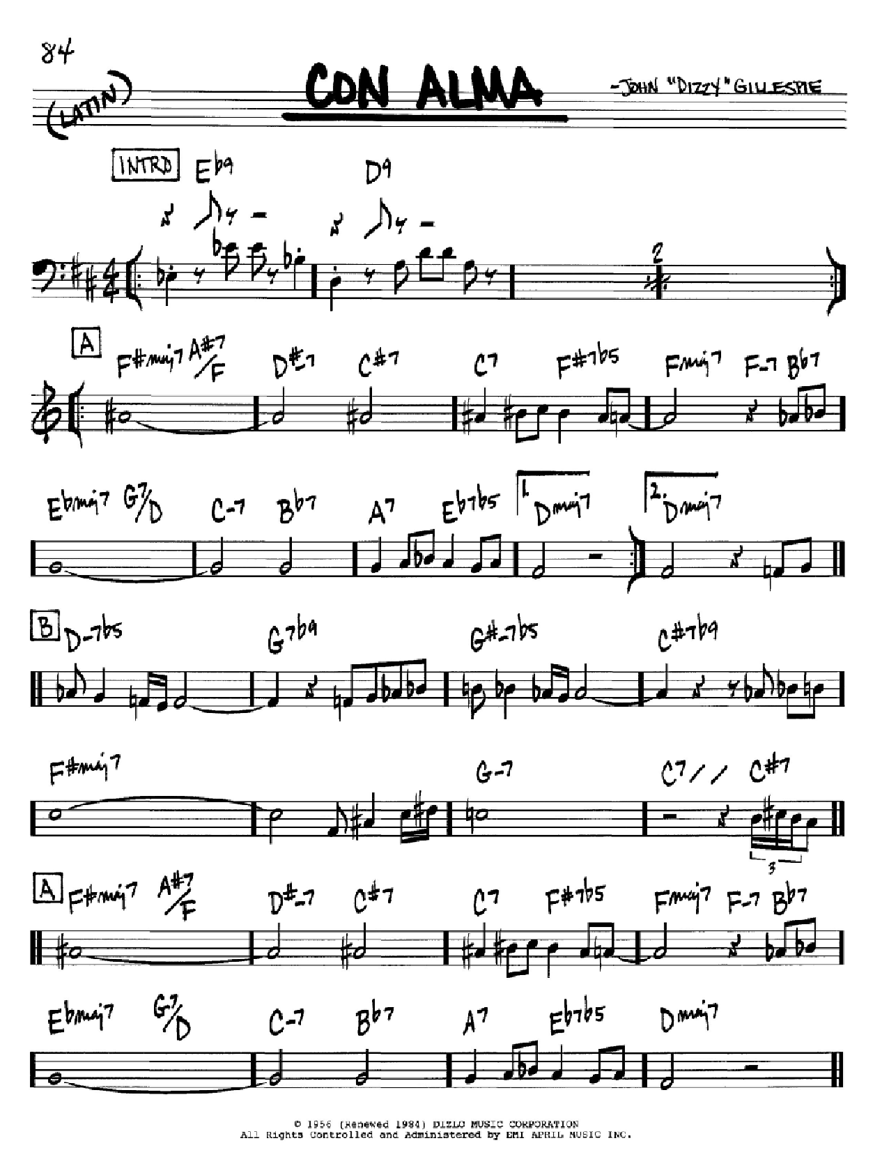 Partition autre Con Alma de Dizzy Gillespie - Real Book, Melodie et Accords, Inst. En Sib