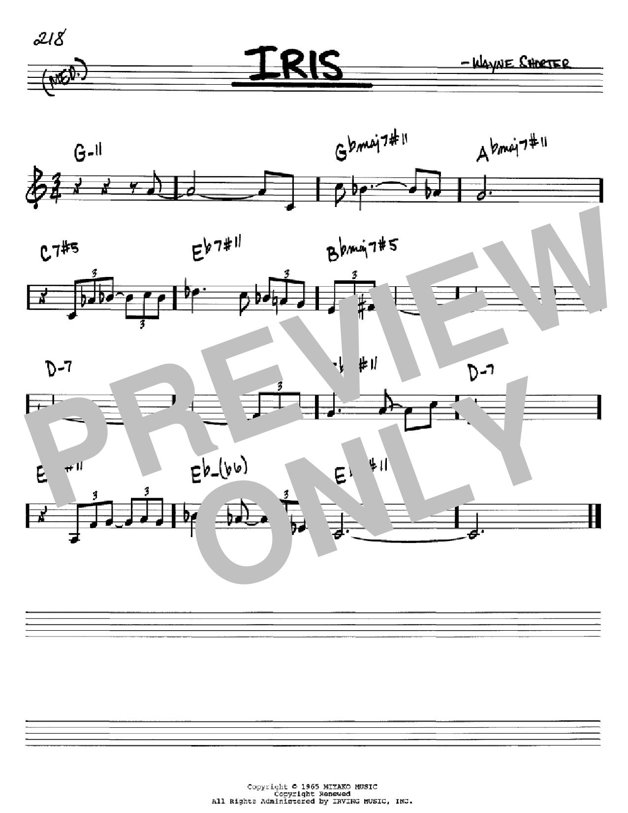 Partition autre Iris de Wayne Shorter - Real Book, Melodie et Accords, Inst. En Sib