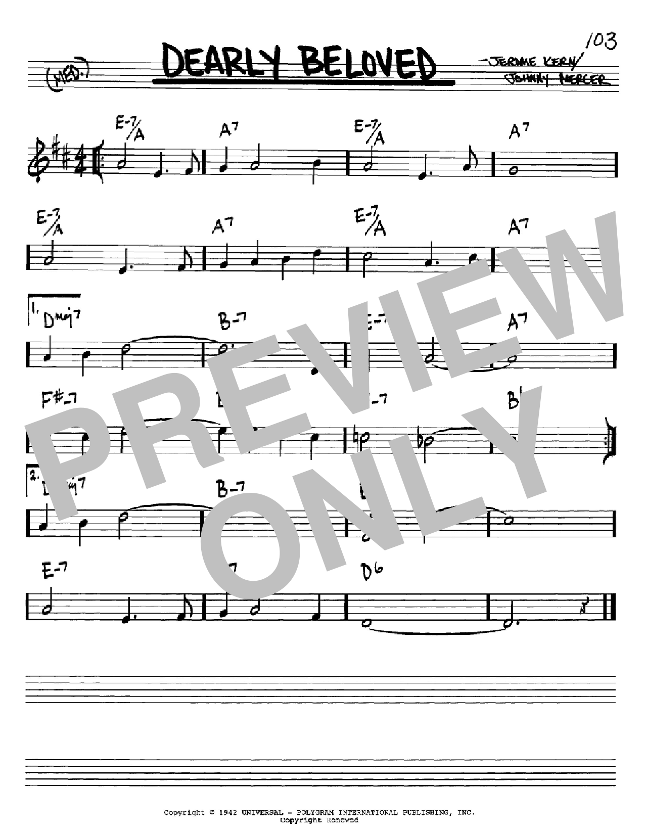 Dearly Beloved sheet music for voice and other instruments (Bb) by Johnny Mercer