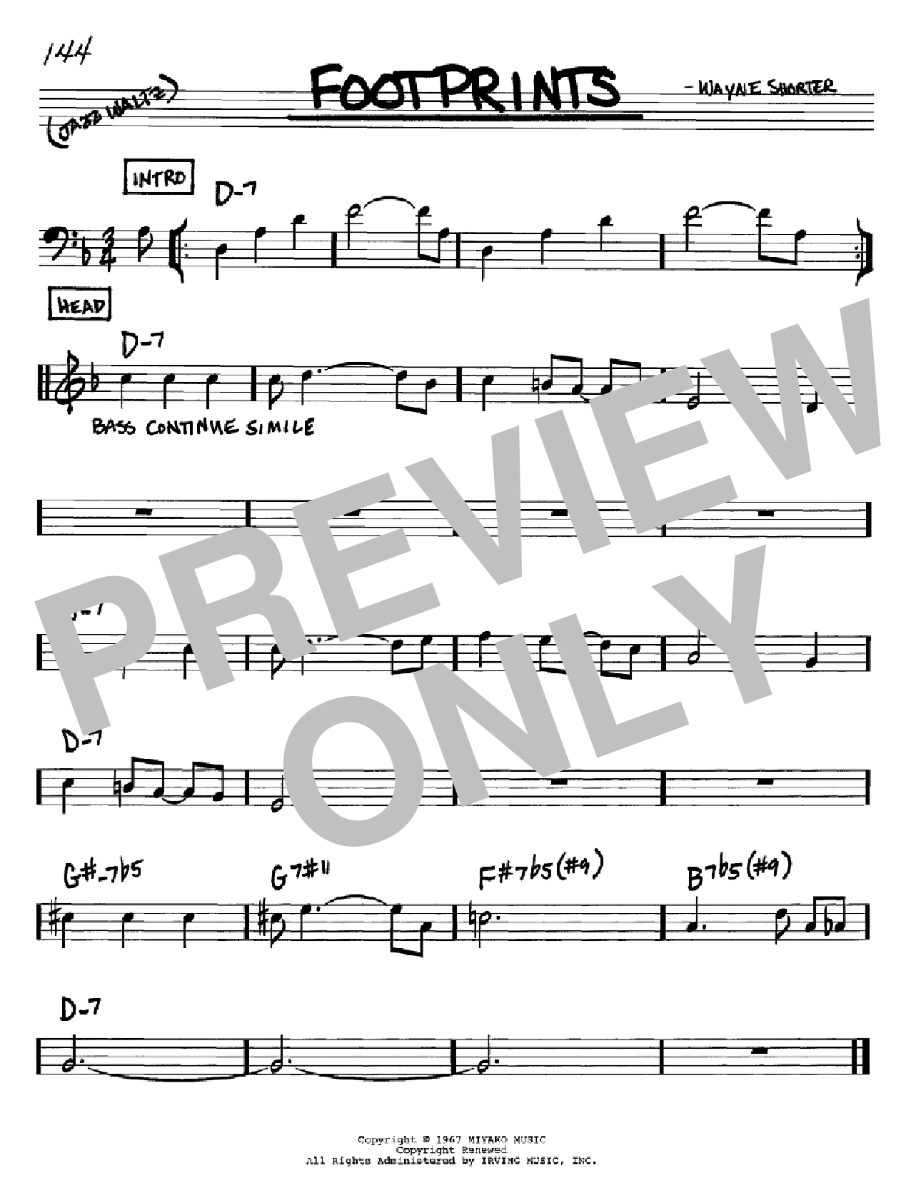 Footprints sheet music for voice and other instruments (Bb) by Wayne Shorter