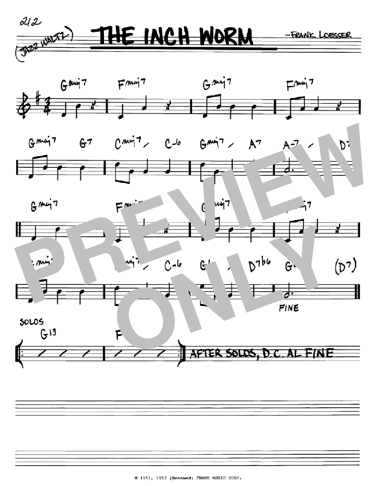 Partition autre The Inch Worm de Frank Loesser - Real Book, Melodie et Accords, Inst. En Sib