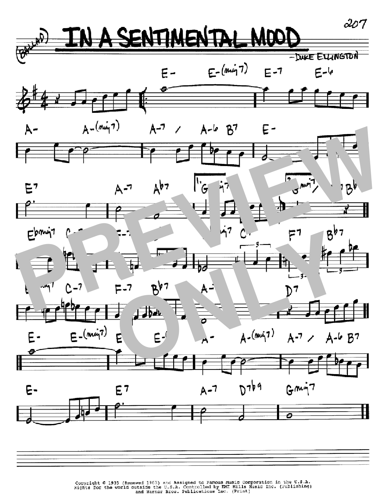 In A Sentimental Mood sheet music for voice and other instruments (Bb) by Manny Kurtz