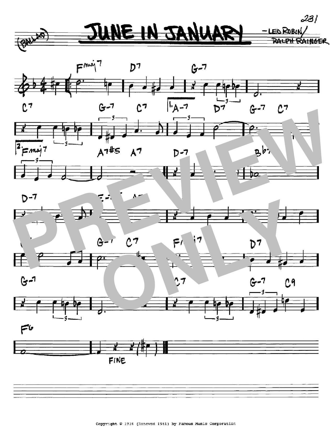 Partition autre June In January de Leo Robin - Real Book, Melodie et Accords, Inst. En Sib