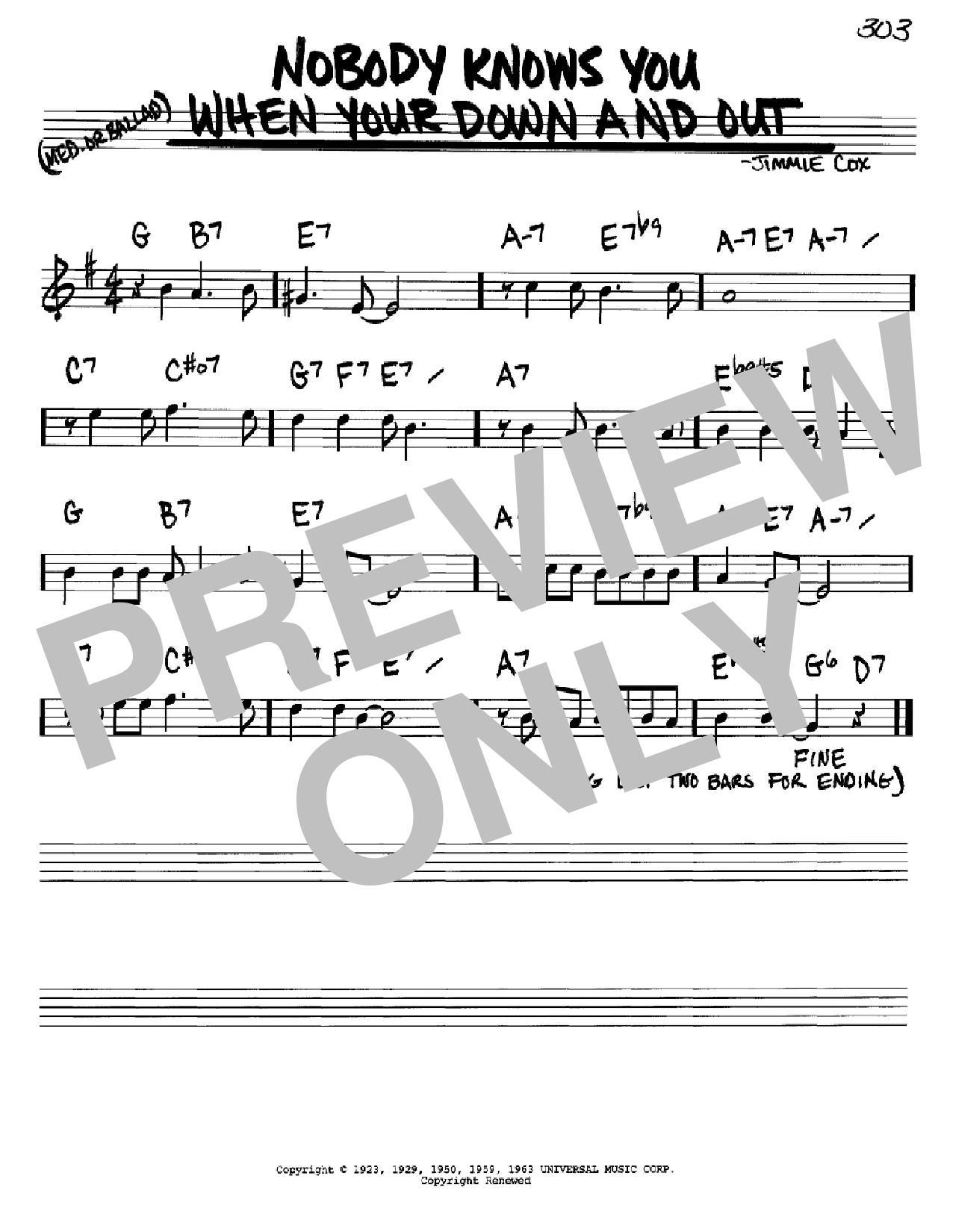 Nobody Knows You When You're Down And Out sheet music for voice and other instruments (Bb) by Jimmie Cox