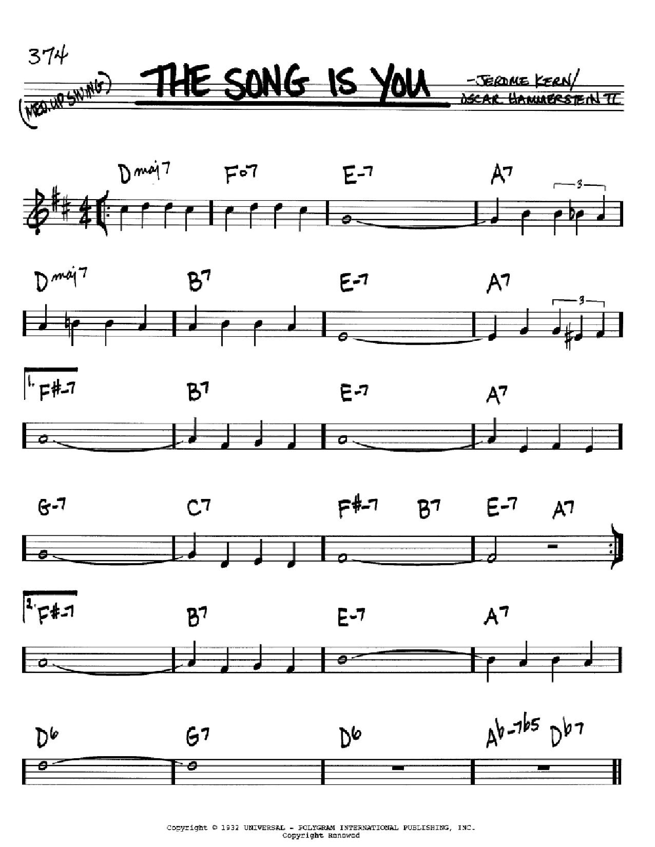 Partition autre The Song Is You de Jerome Kern - Real Book, Melodie et Accords, Inst. En Sib