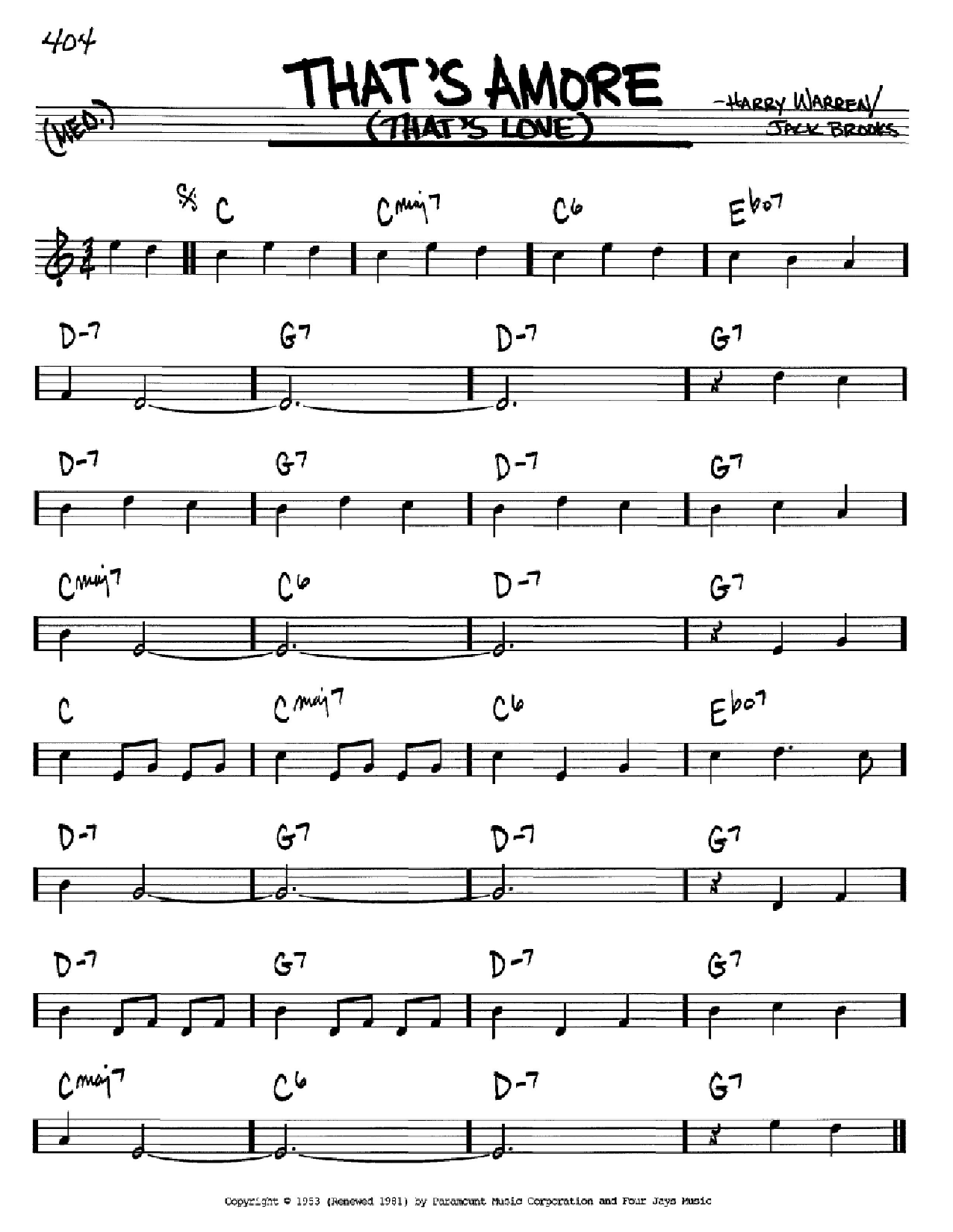 Partition autre That's Amoré (That's Love) de Jack Brooks - Real Book, Melodie et Accords, Inst. En Sib