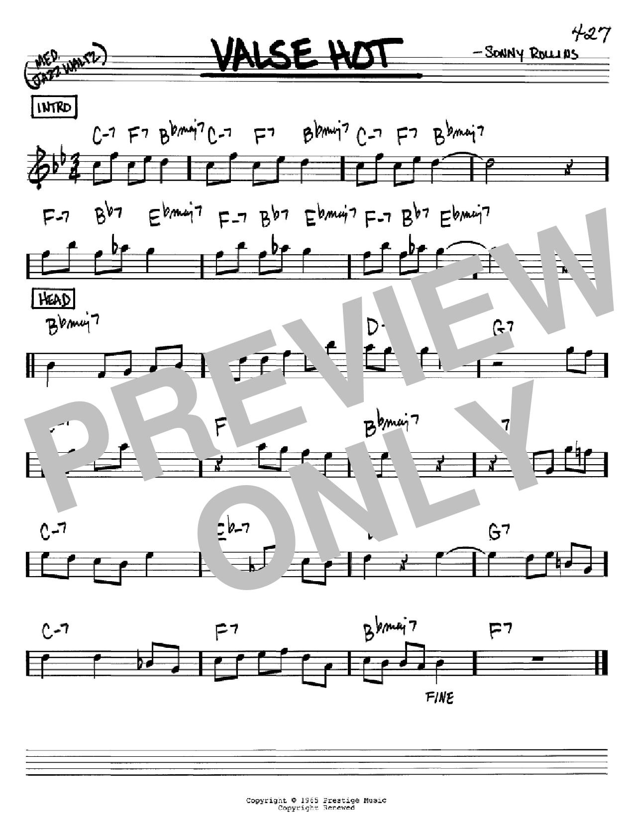 Partition autre Valse Hot de Sonny Rollins - Real Book, Melodie et Accords, Inst. En Sib