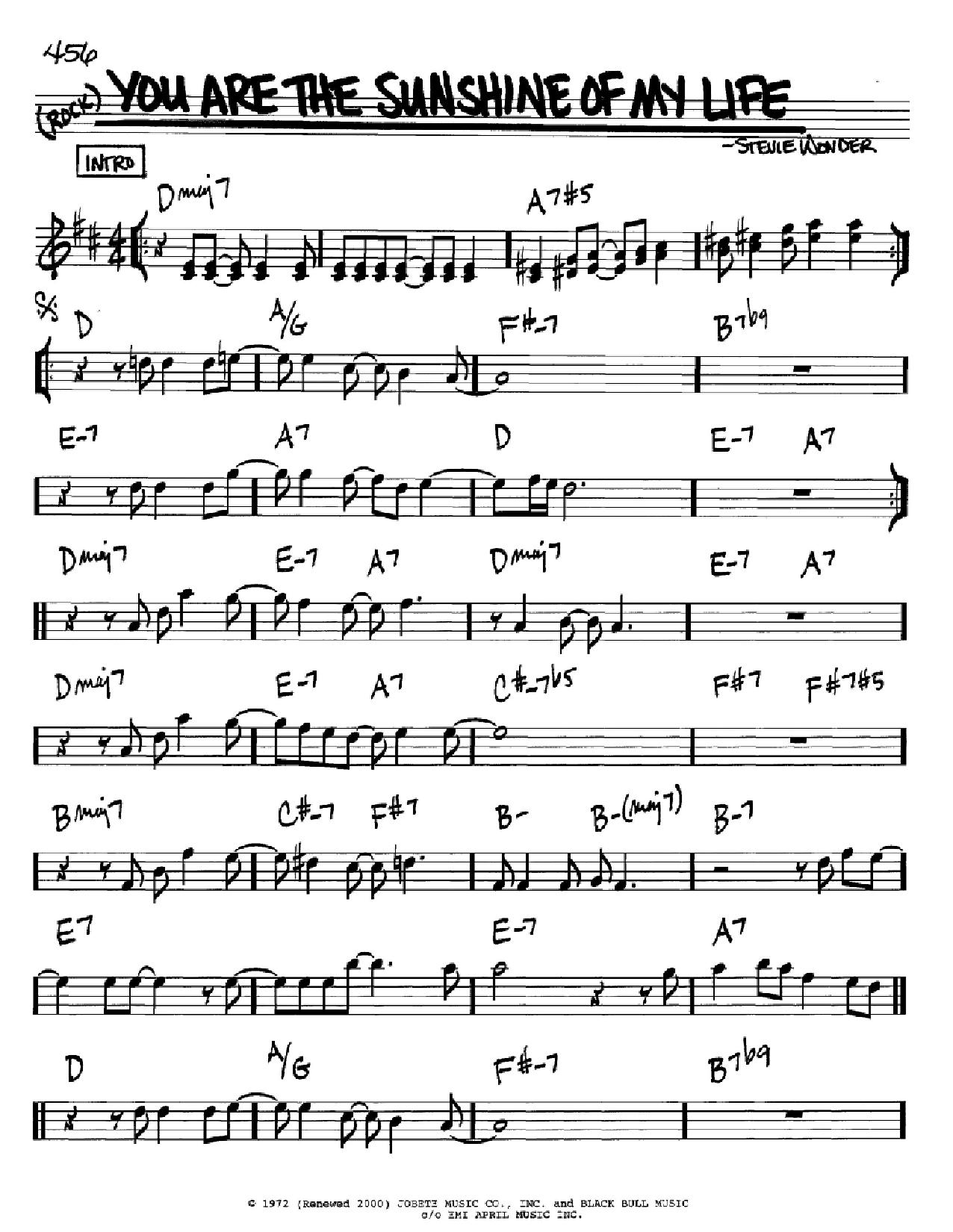 Partition autre You Are The Sunshine Of My Life de Stevie Wonder - Real Book, Melodie et Accords, Inst. En Sib