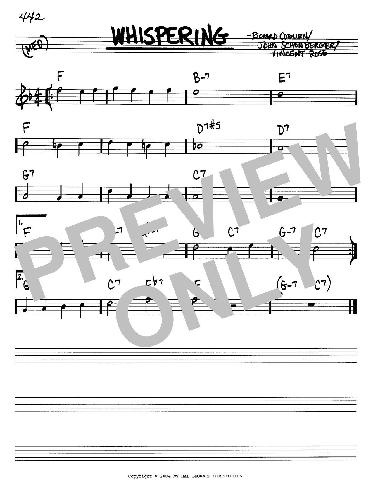 Partition autre Whispering de Richard Coburn - Real Book, Melodie et Accords, Inst. En Sib