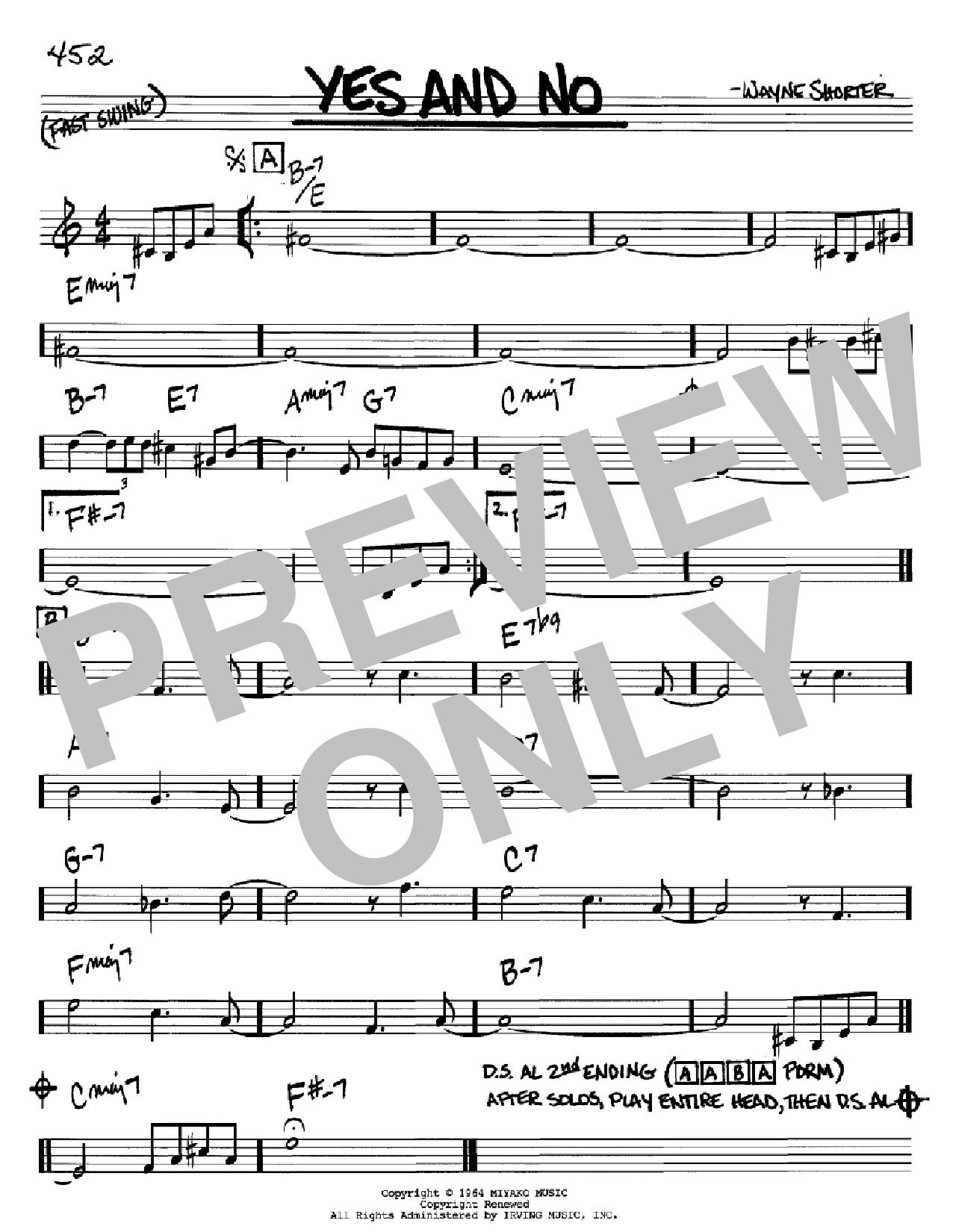 Partition autre Yes And No de Wayne Shorter - Real Book, Melodie et Accords, Inst. En Sib
