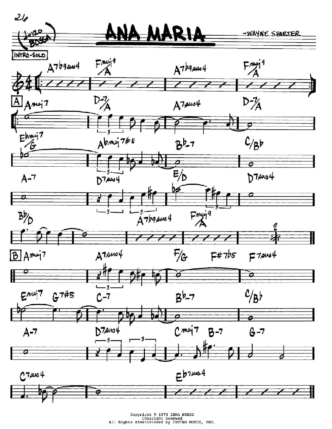 Partition autre Ana Maria de Wayne Shorter - Real Book, Melodie et Accords, Inst. En Sib