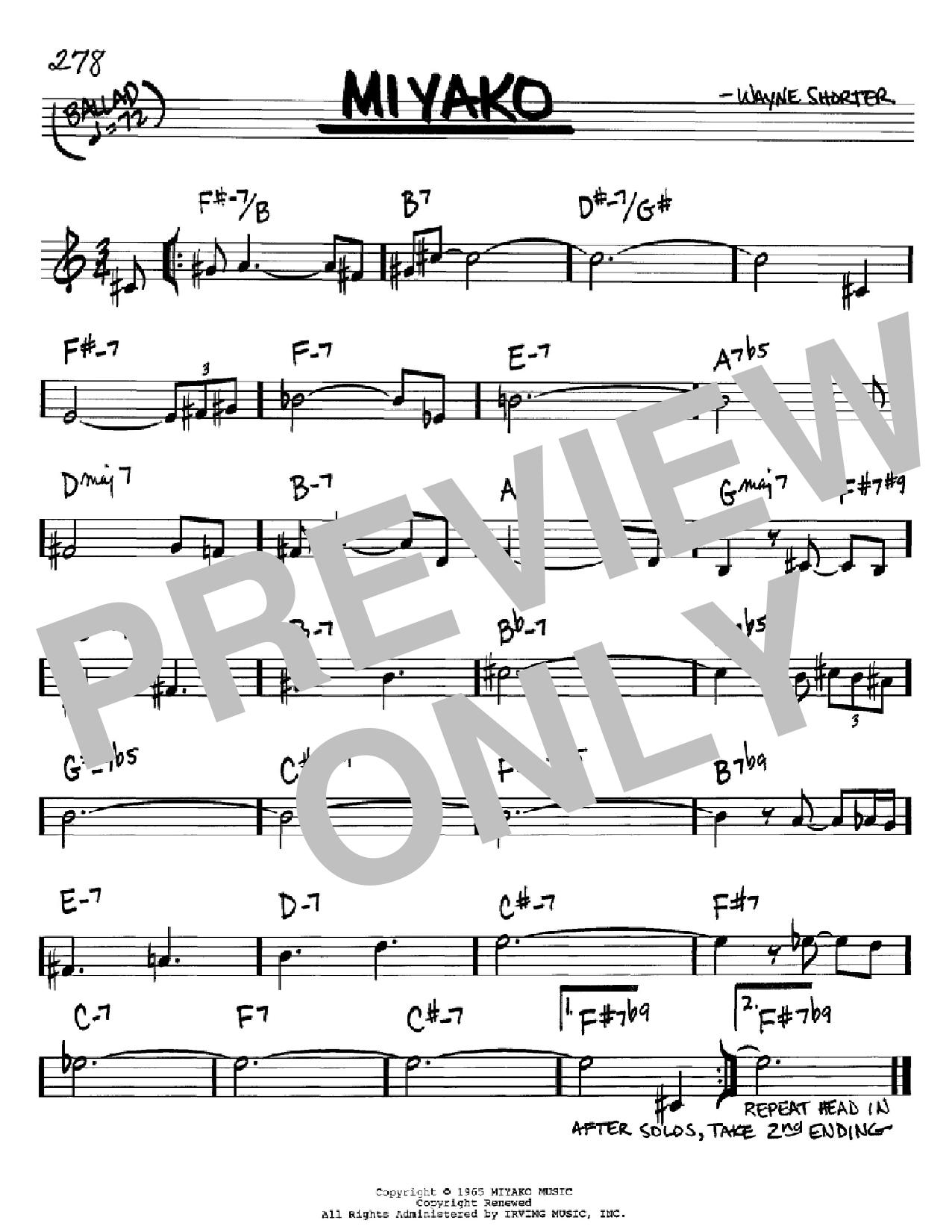 Partition autre Miyako de Wayne Shorter - Real Book, Melodie et Accords, Inst. En Sib