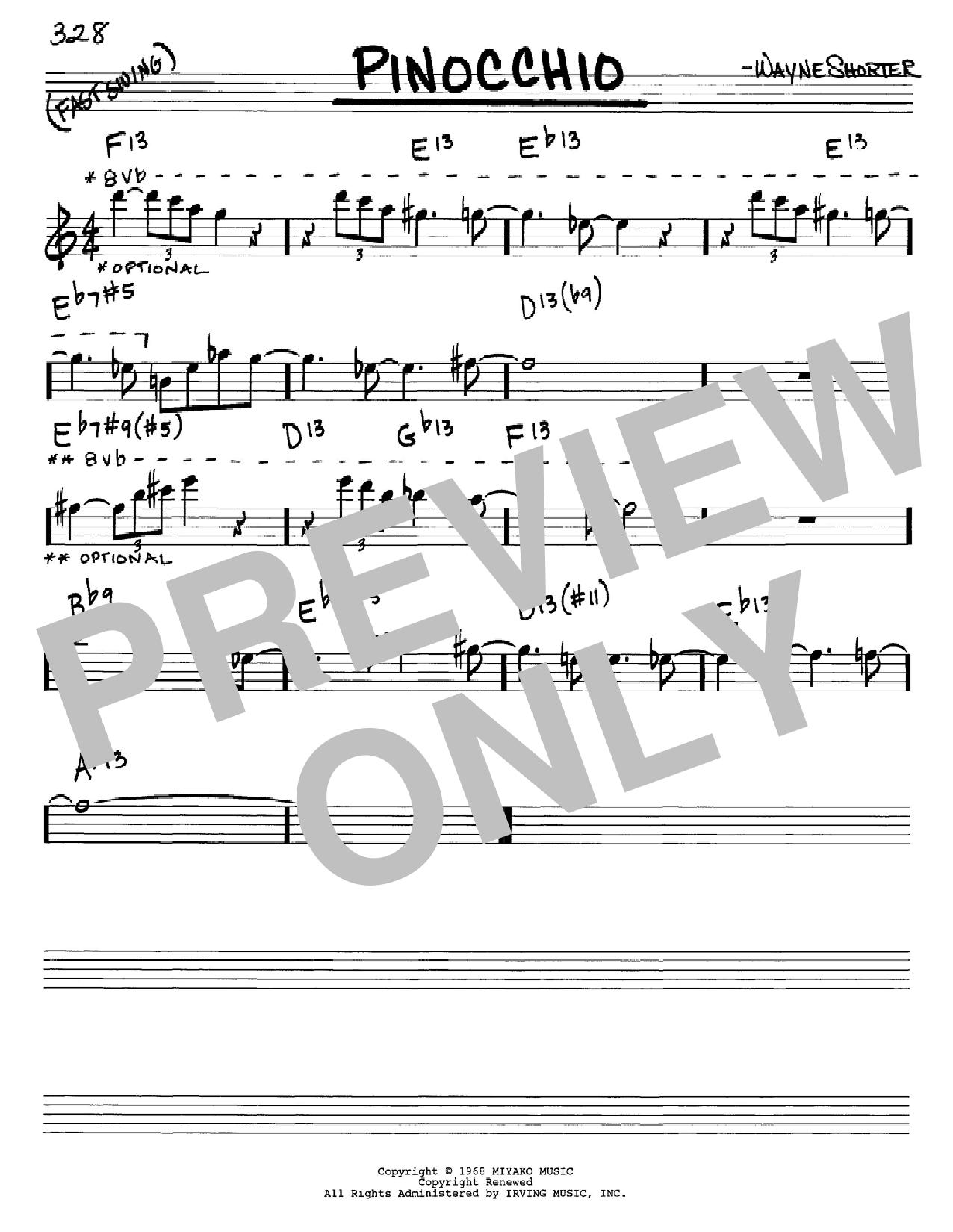 Partition autre Pinocchio de Wayne Shorter - Real Book, Melodie et Accords, Inst. En Mib