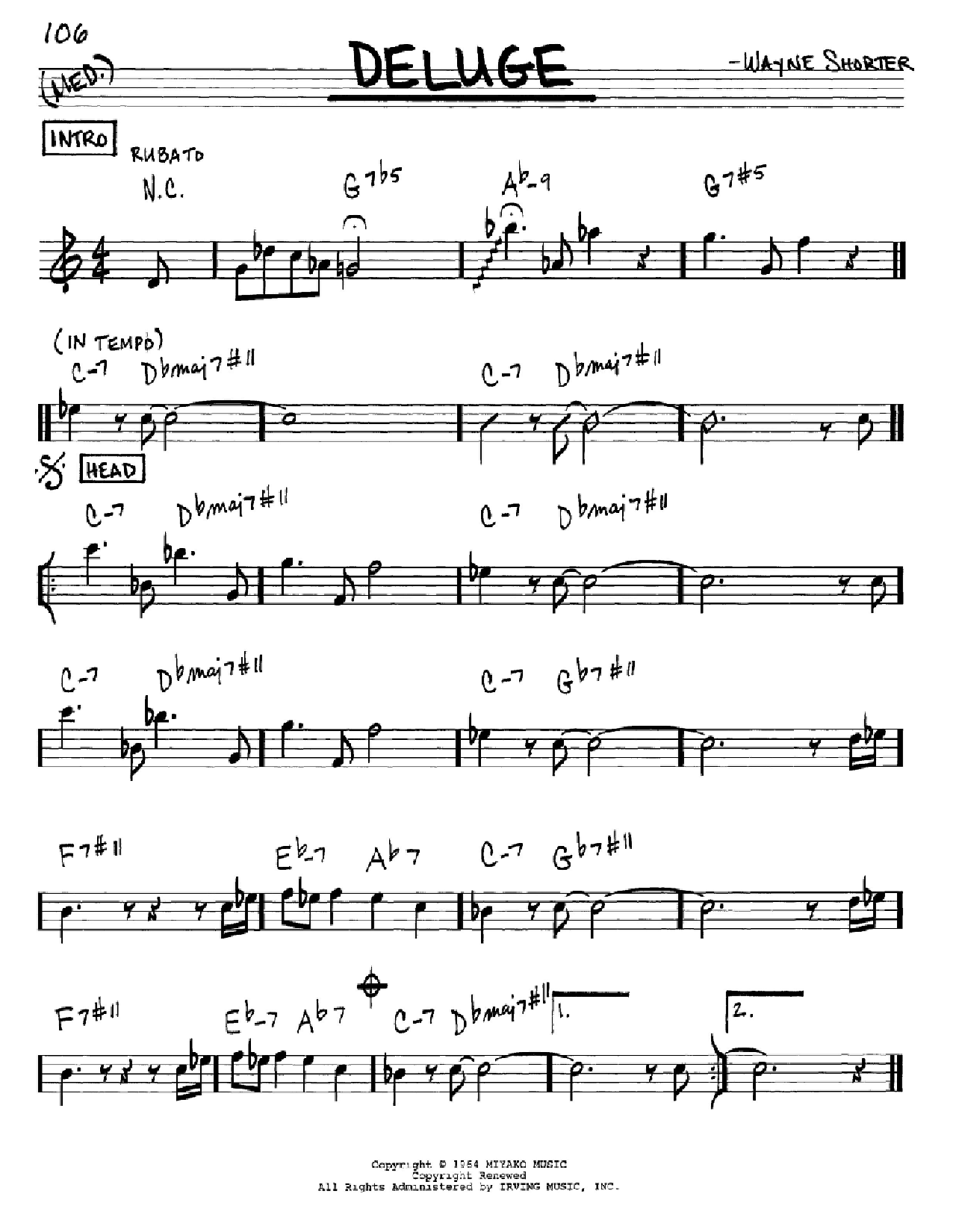 Deluge sheet music for voice and other instruments (Eb) by Wayne Shorter