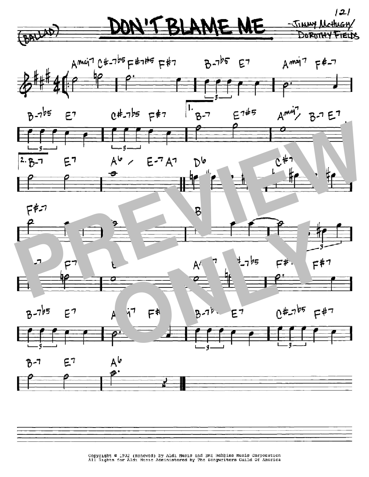 Don't Blame Me sheet music for voice and other instruments (Eb) by Jimmy McHugh