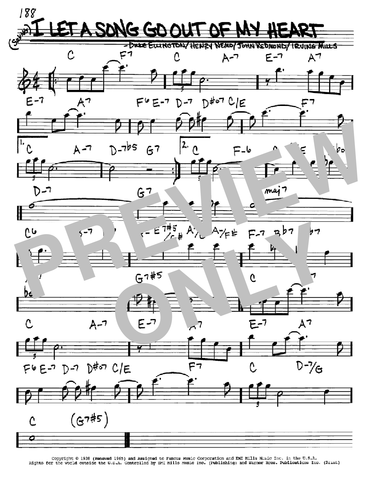 I Let A Song Go Out Of My Heart sheet music for voice and other instruments (Eb) by John Redmond
