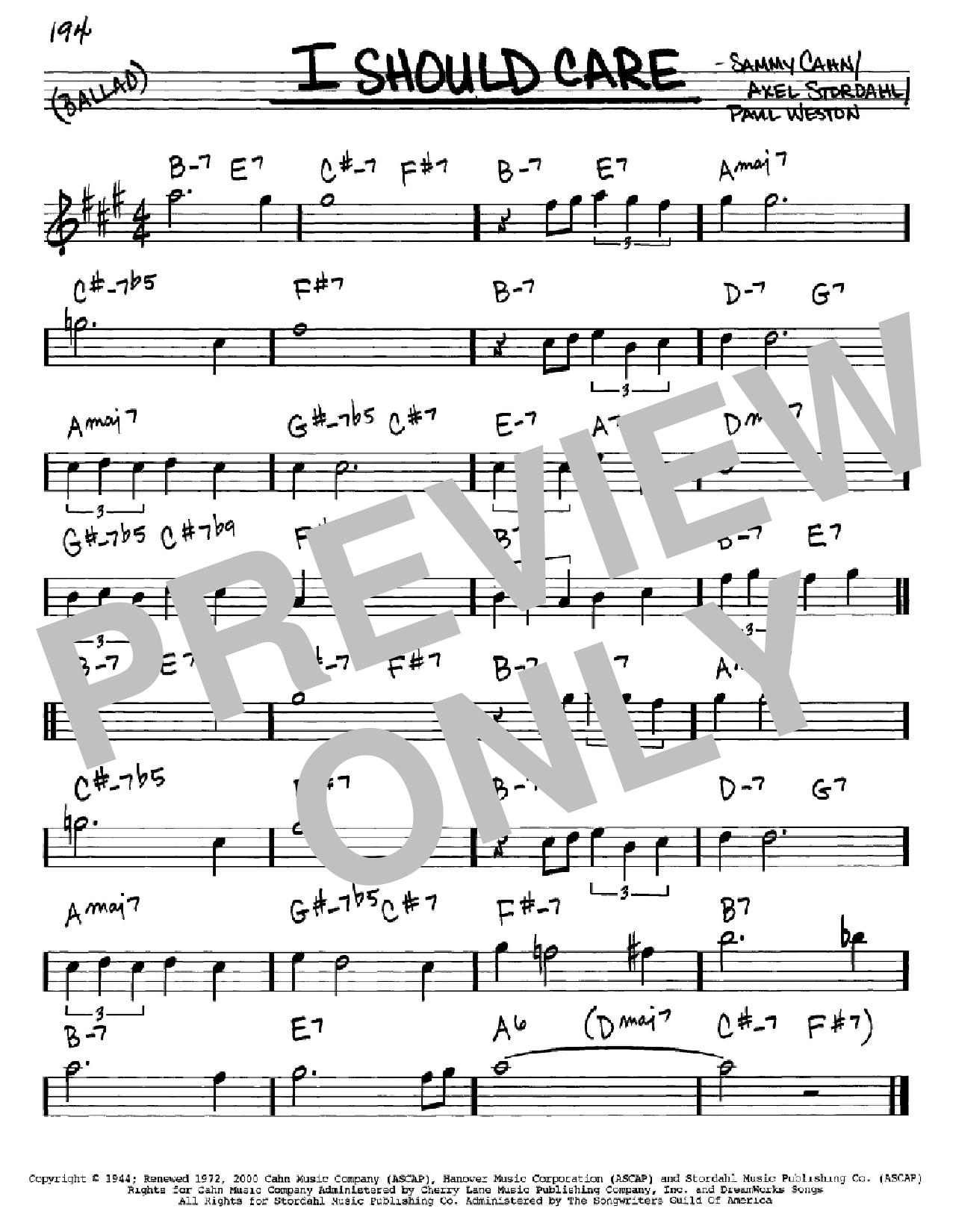 Partition autre I Should Care de Sammy Cahn - Real Book, Melodie et Accords, Inst. En Mib