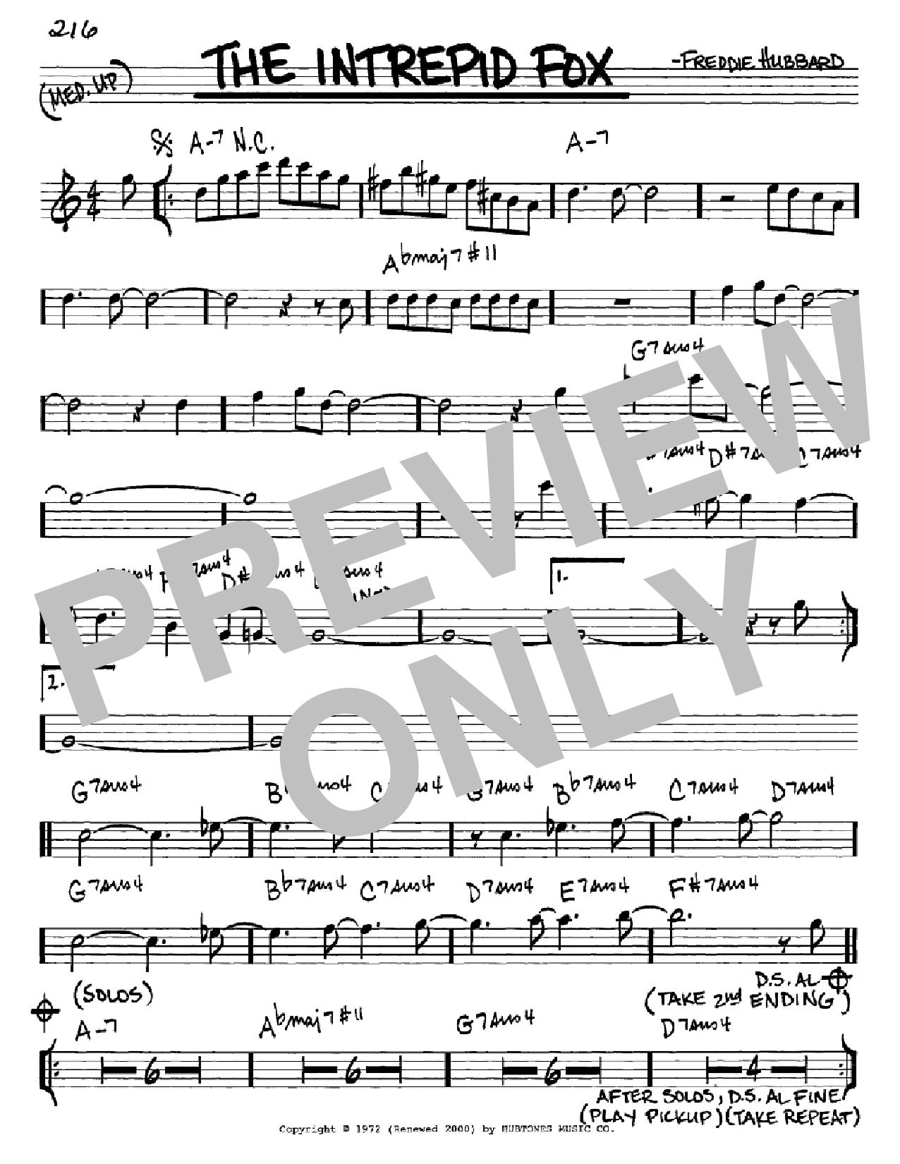 The Intrepid Fox sheet music for voice and other instruments (Eb) by Freddie Hubbard