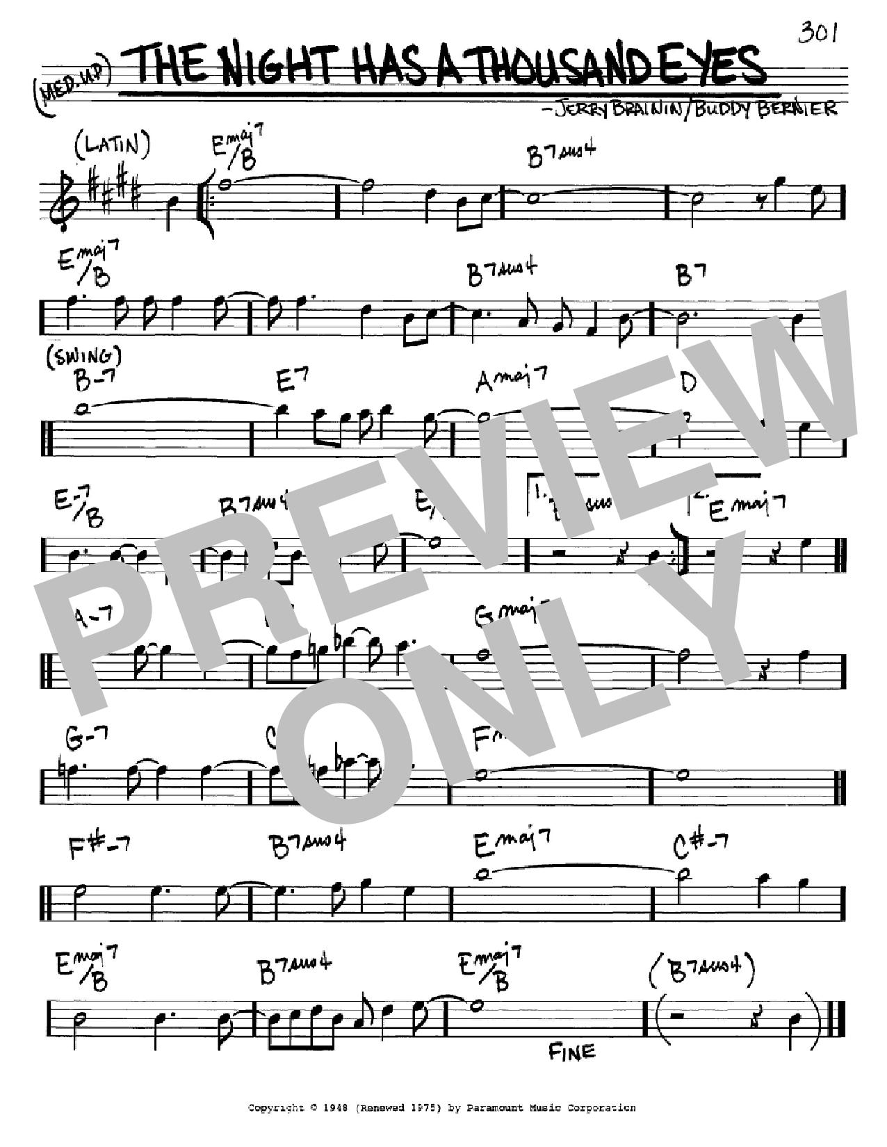 Partition autre The Night Has A Thousand Eyes de Buddy Bernier - Real Book, Melodie et Accords, Inst. En Mib