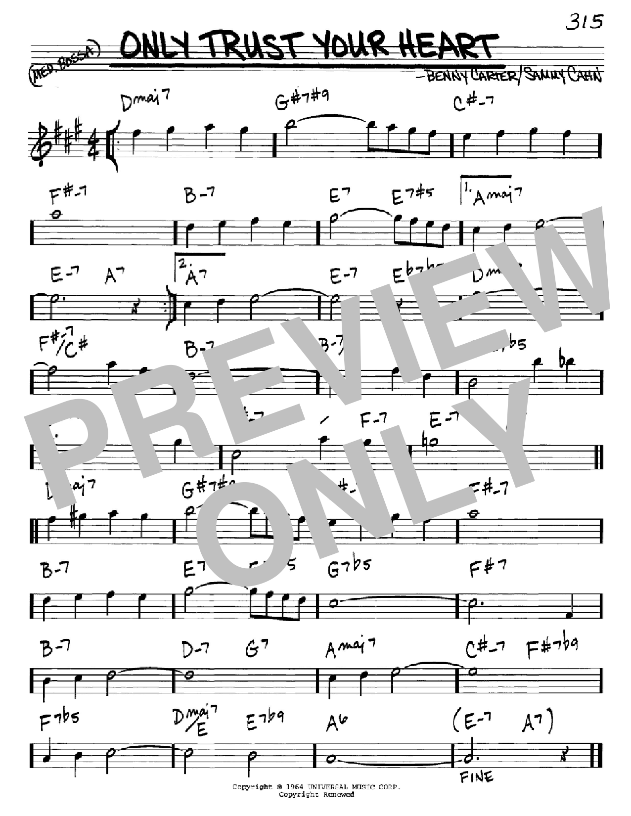 Only Trust Your Heart sheet music for voice and other instruments (Eb) by Benny Carter