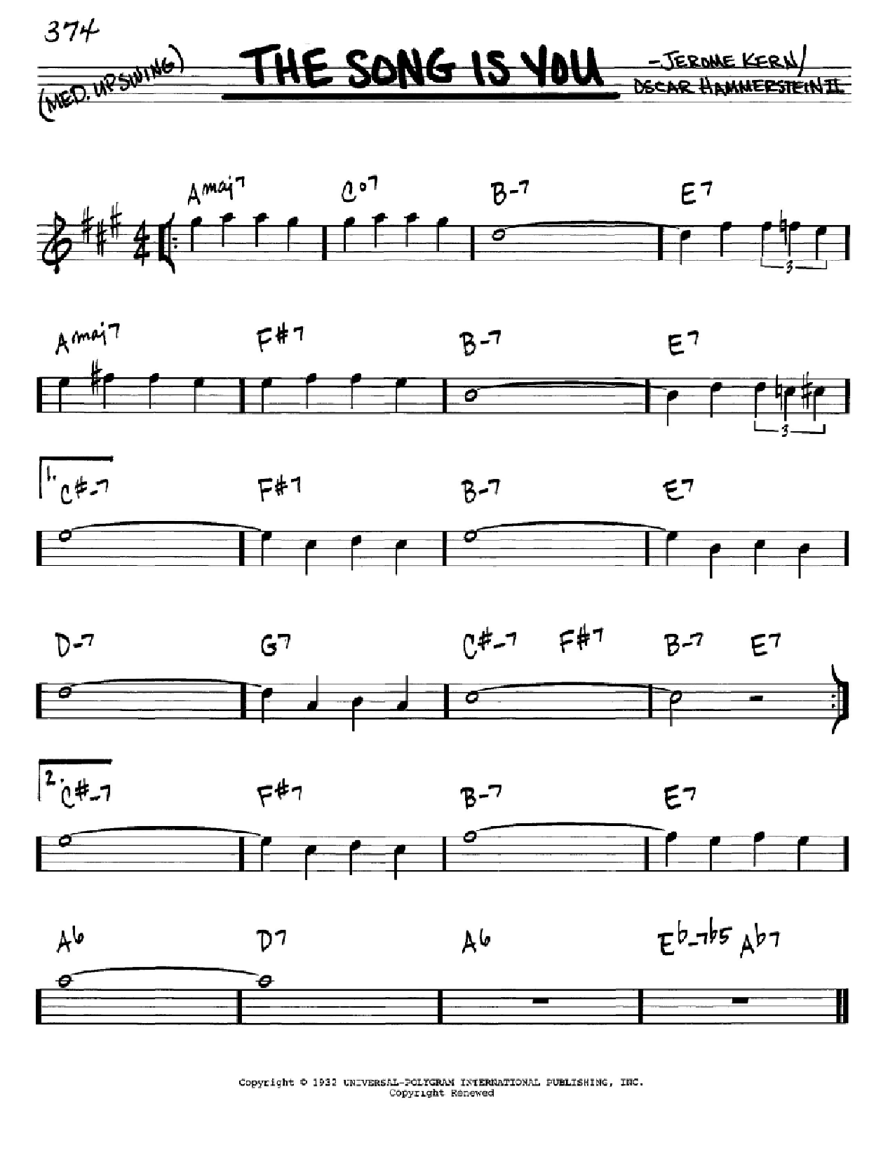 Partition autre The Song Is You de Jerome Kern - Real Book, Melodie et Accords, Inst. En Mib