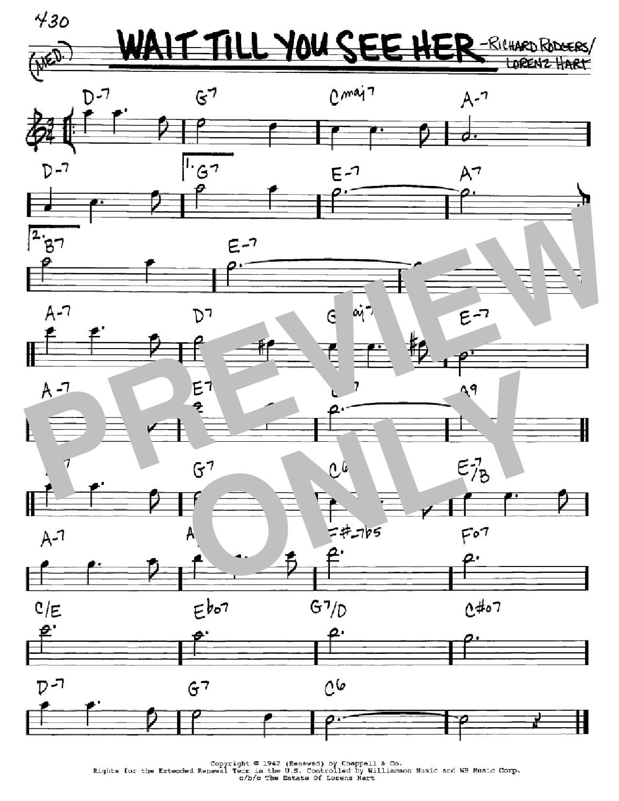 Partition autre Wait Till You See Her de Rodgers & Hart - Real Book, Melodie et Accords, Inst. En Mib