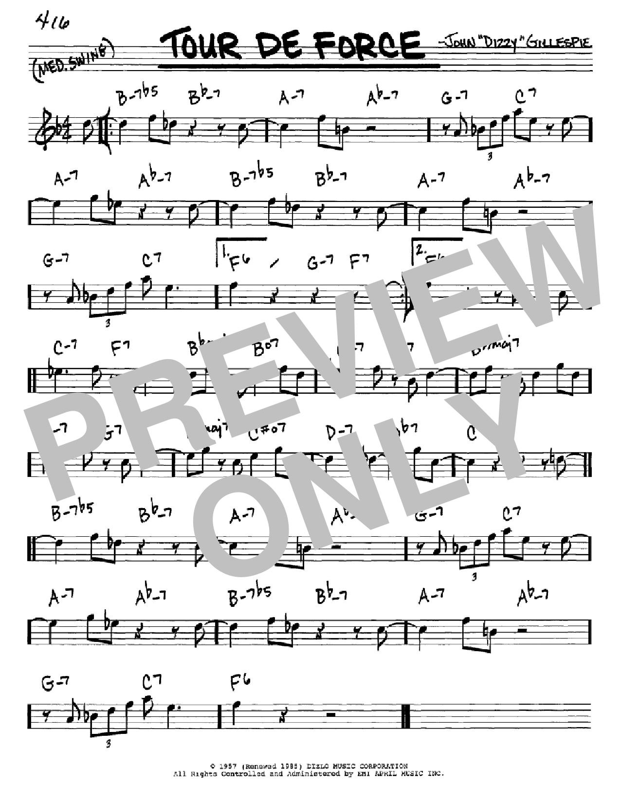 Partition autre Tour De Force de Dizzy Gillespie - Real Book, Melodie et Accords, Inst. En Mib