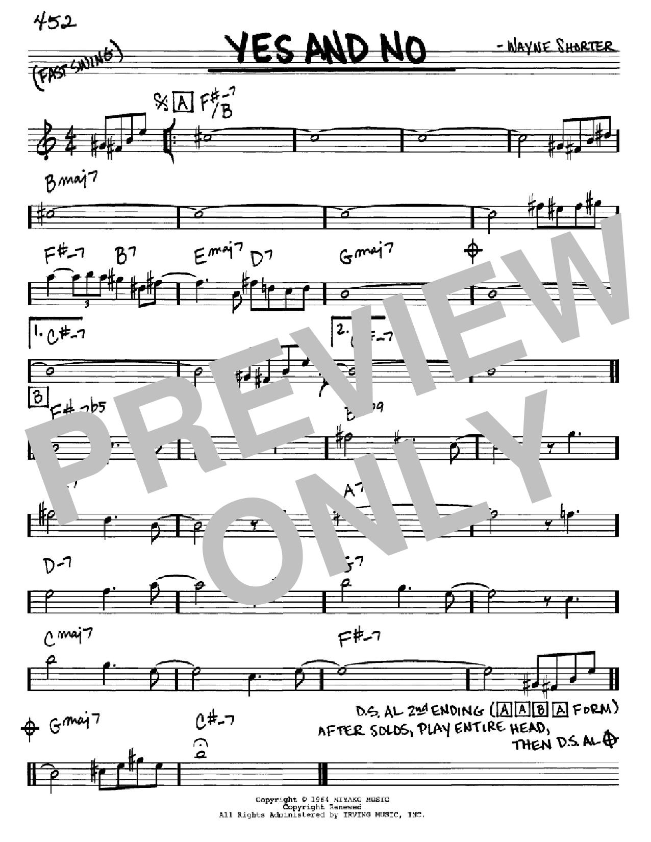 Partition autre Yes And No de Wayne Shorter - Real Book, Melodie et Accords, Inst. En Mib