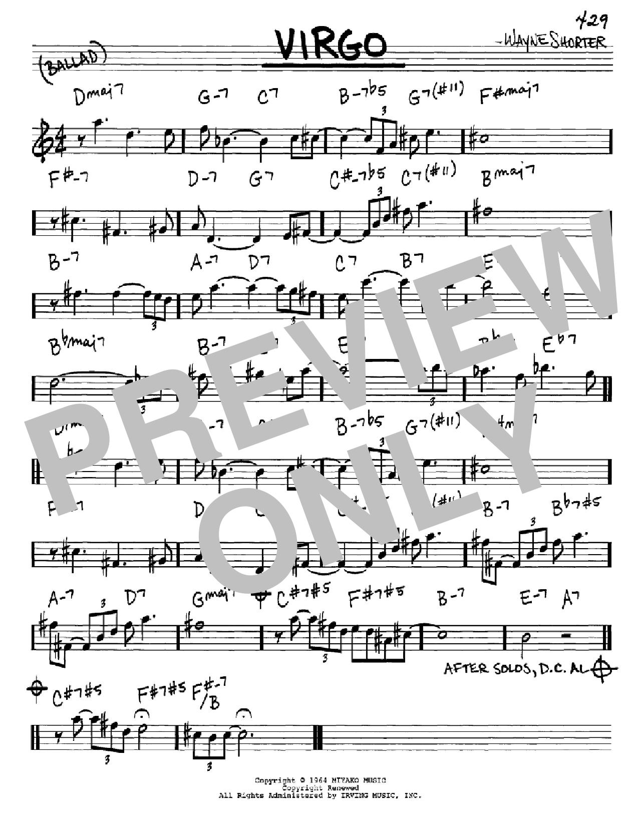 Partition autre Virgo de Wayne Shorter - Real Book, Melodie et Accords, Inst. En Mib