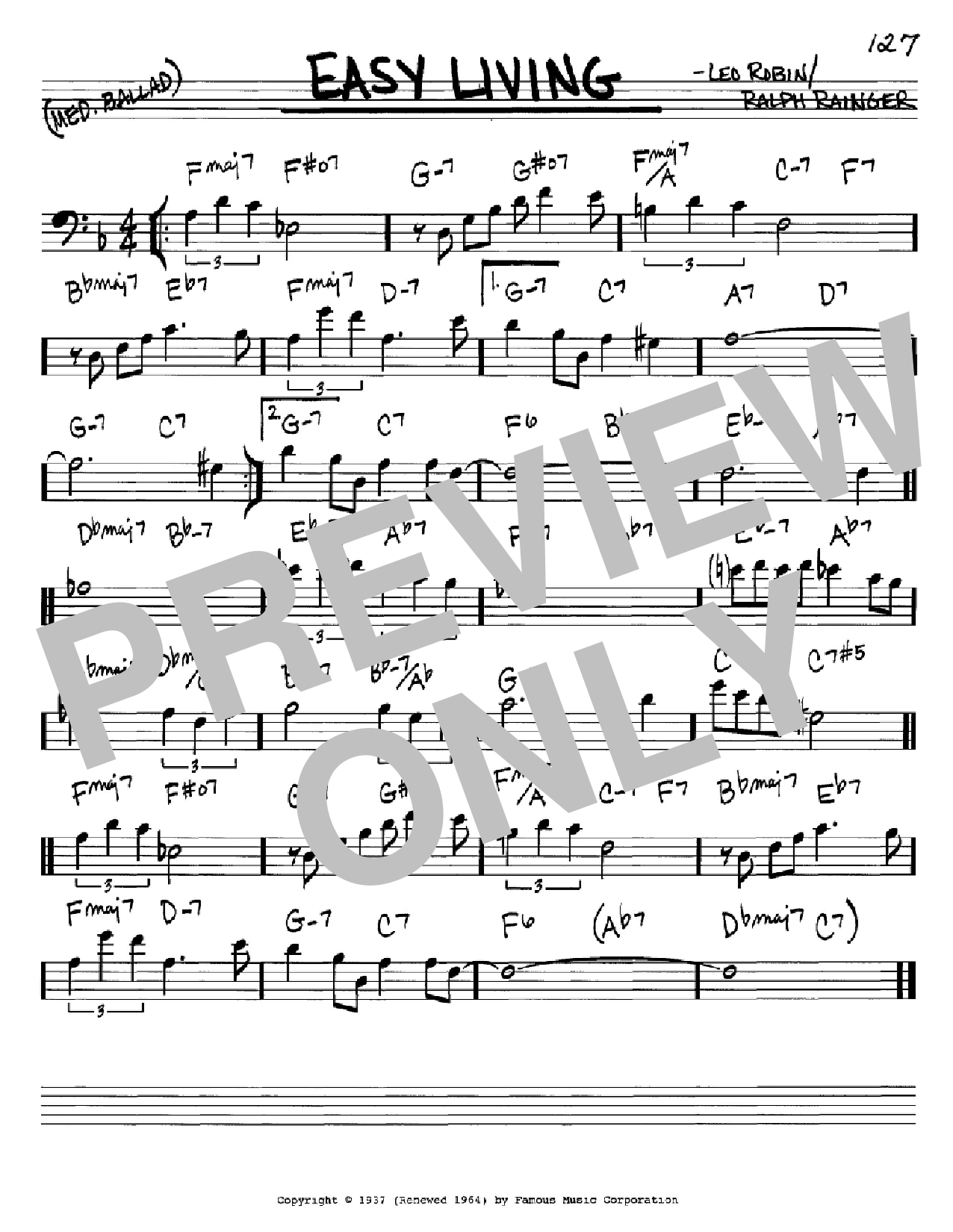 Easy living sheet music by billie holiday real book for Easy living