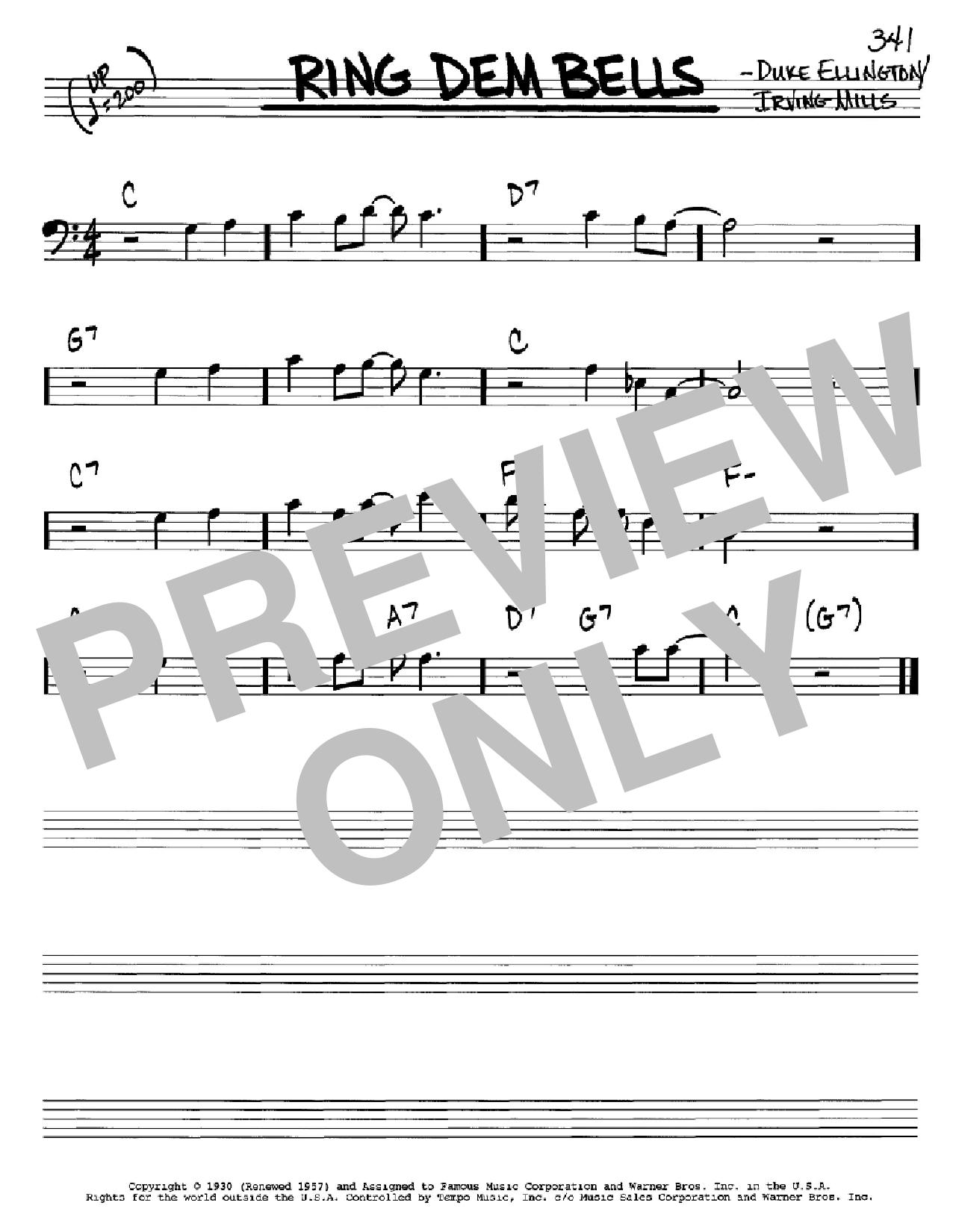 Partition autre Ring Dem Bells de Duke Ellington - Real Book, Melodie et Accords, Inst. En cle de Fa