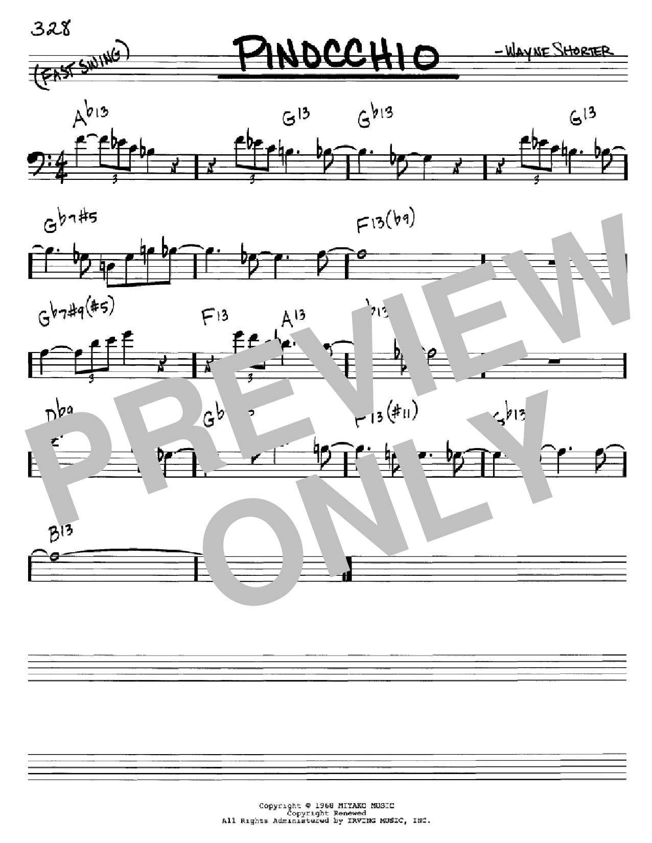 Partition autre Pinocchio de Wayne Shorter - Real Book, Melodie et Accords, Inst. En cle de Fa