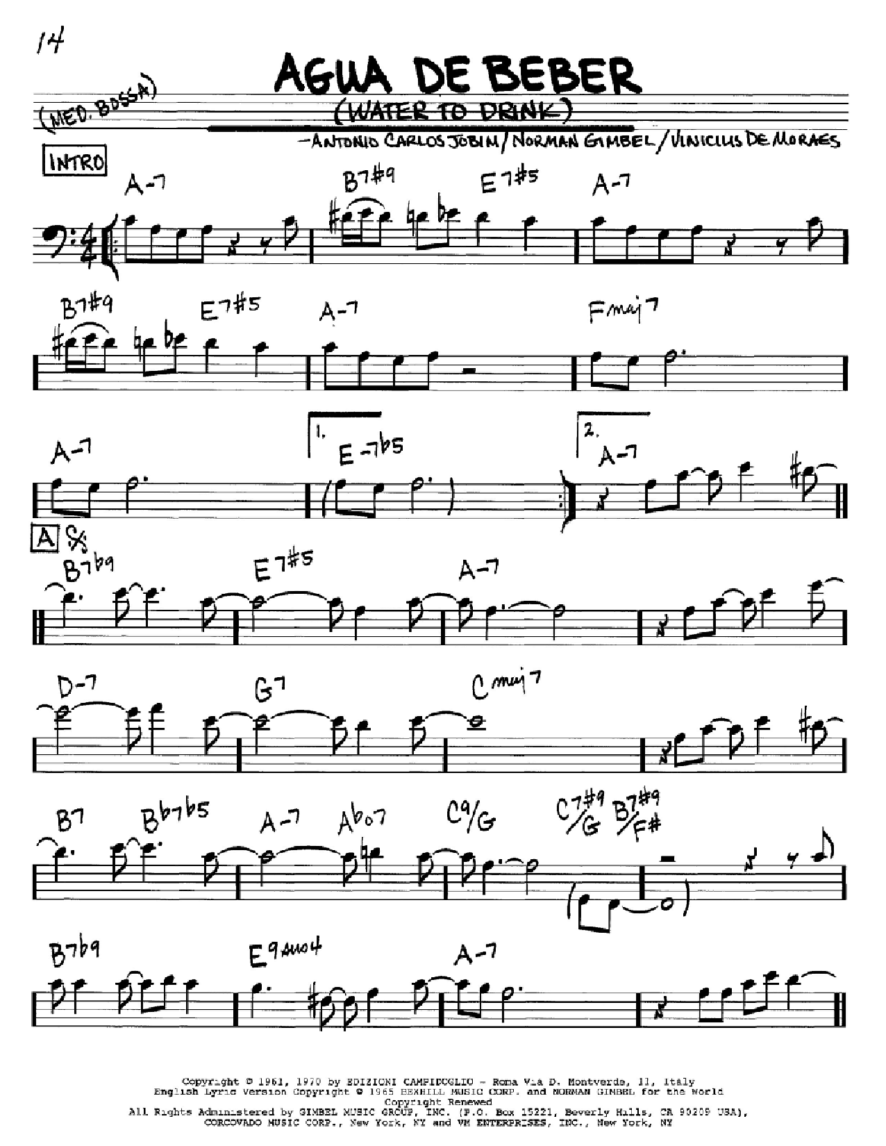 Agua De Beber (Water To Drink) sheet music for voice and other instruments (Bass Clef ) by Vinicius de Moraes