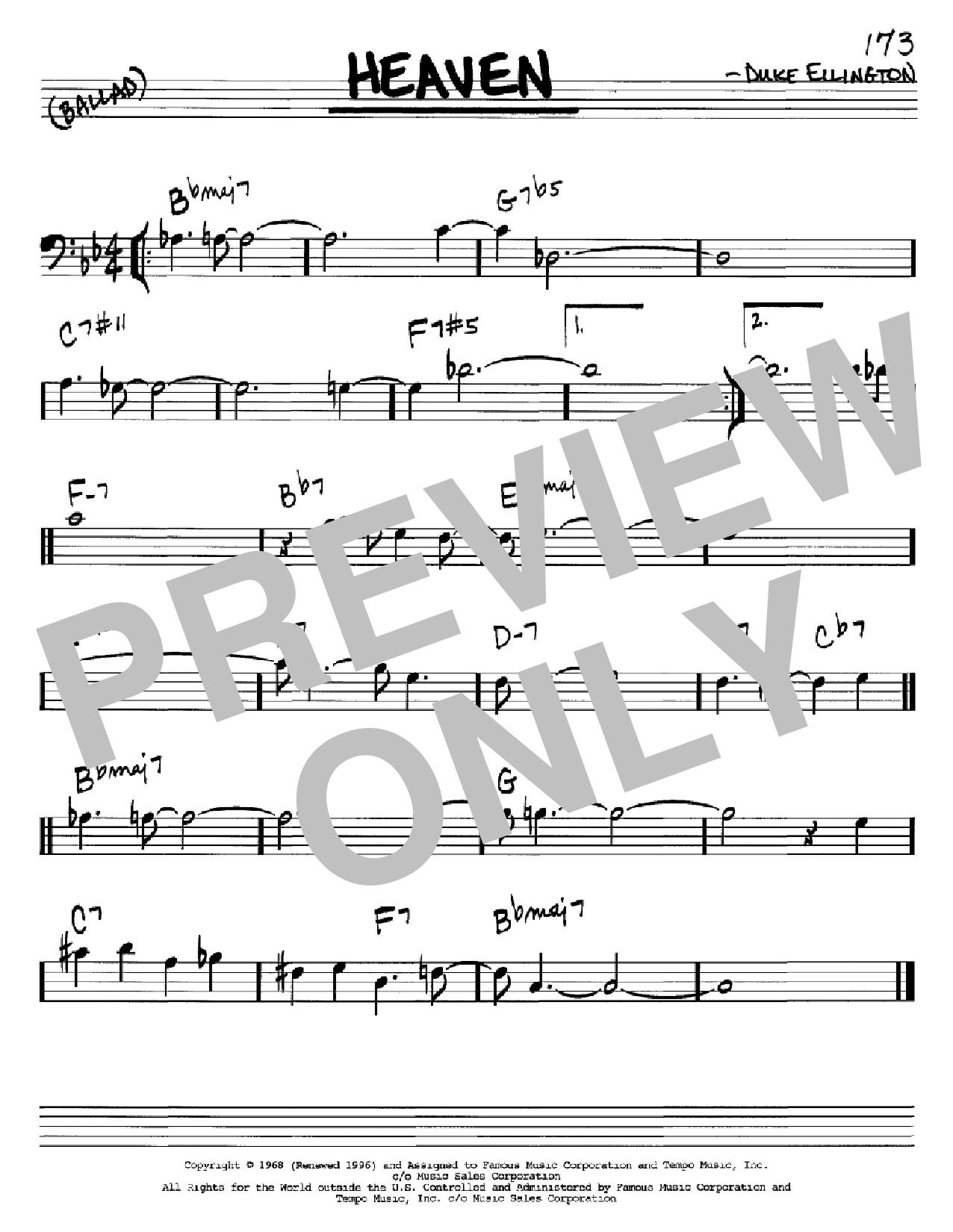 Partition autre Heaven de Duke Ellington - Real Book, Melodie et Accords, Inst. En cle de Fa