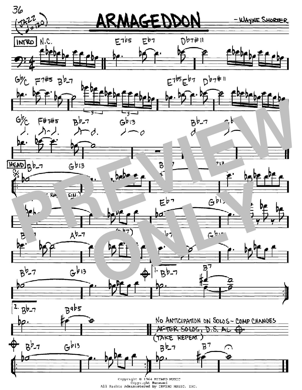 Partition autre Armageddon de Wayne Shorter - Real Book, Melodie et Accords, Inst. En cle de Fa