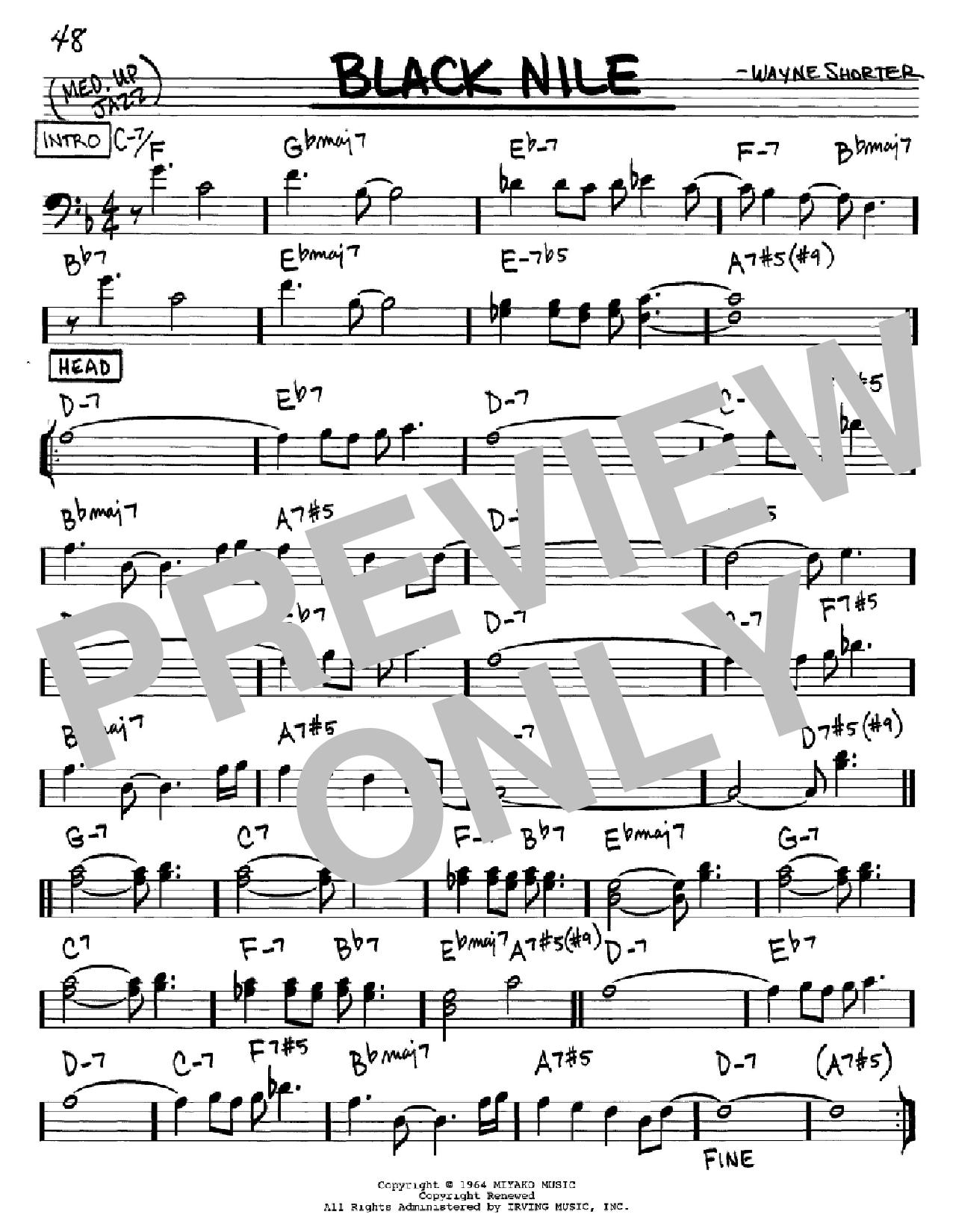 Partition autre Black Nile de Wayne Shorter - Real Book, Melodie et Accords, Inst. En cle de Fa