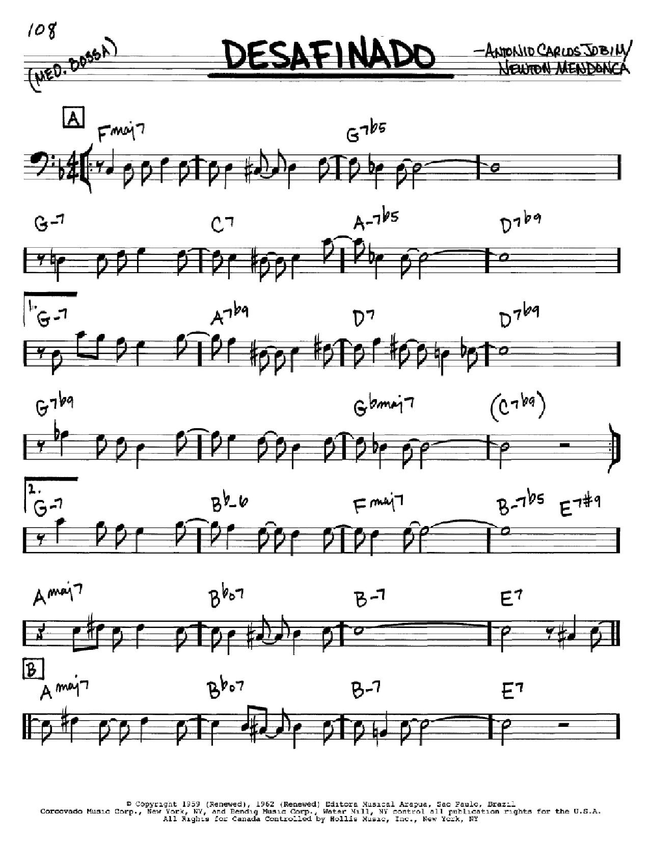 Partition autre Desafinado (Slightly Out Of Tune) de Antonio Carlos Jobim - Real Book, Melodie et Accords, Inst. En cle de Fa