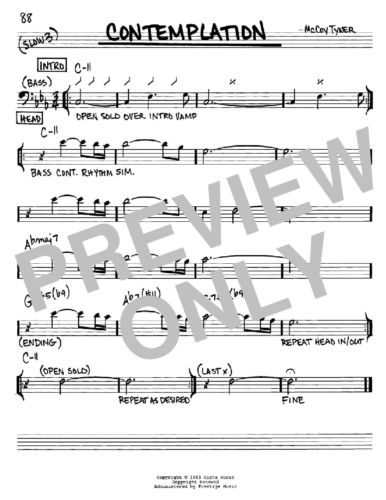 Partition autre Contemplation de McCoy Tyner - Real Book, Melodie et Accords, Inst. En cle de Fa