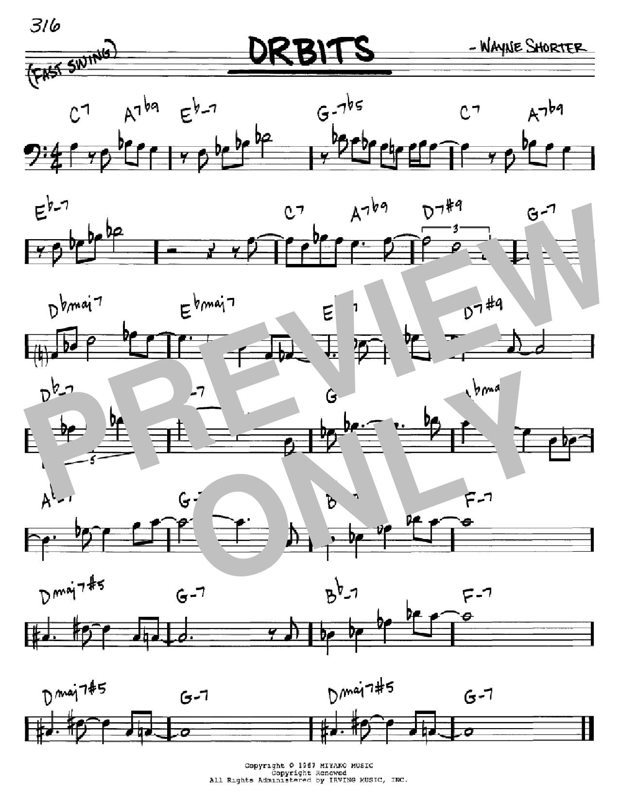 Partition autre Orbits de Wayne Shorter - Real Book, Melodie et Accords, Inst. En cle de Fa