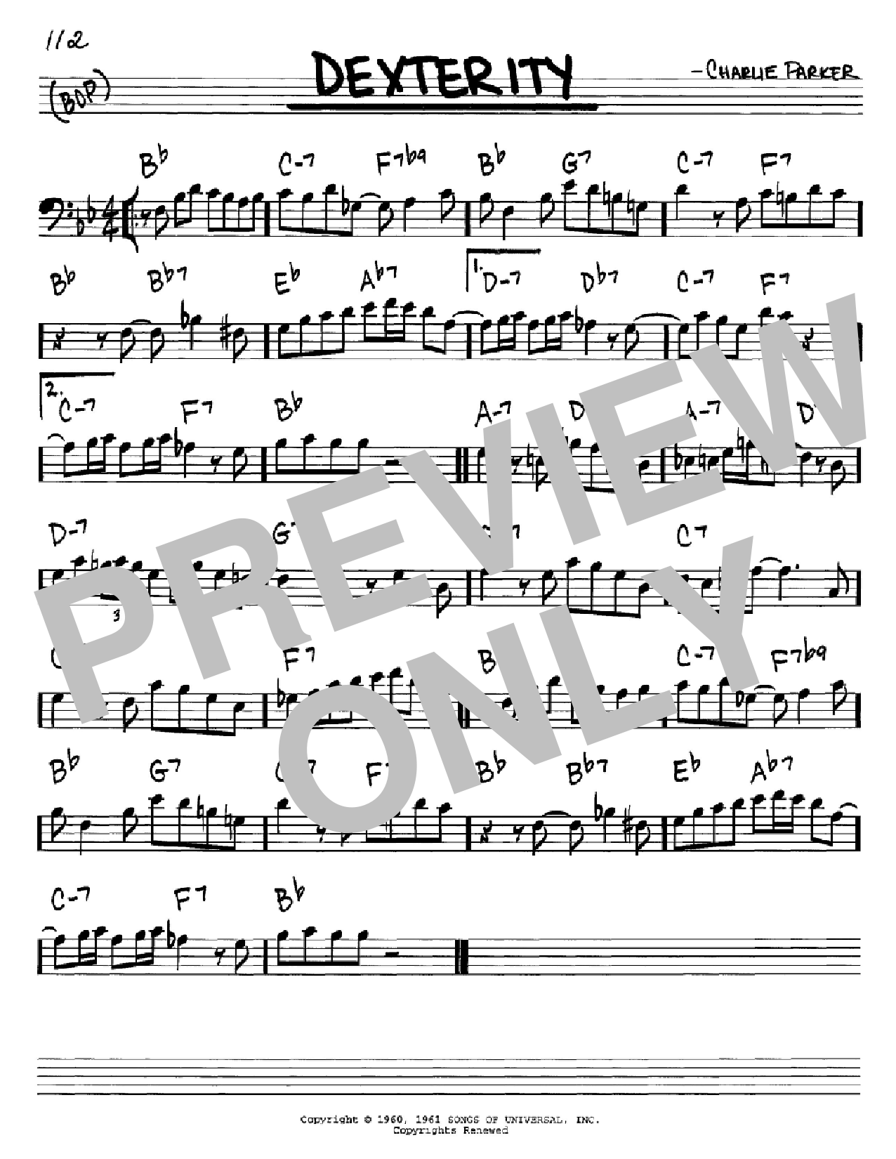Partition autre Dexterity de Charlie Parker - Real Book, Melodie et Accords, Inst. En cle de Fa