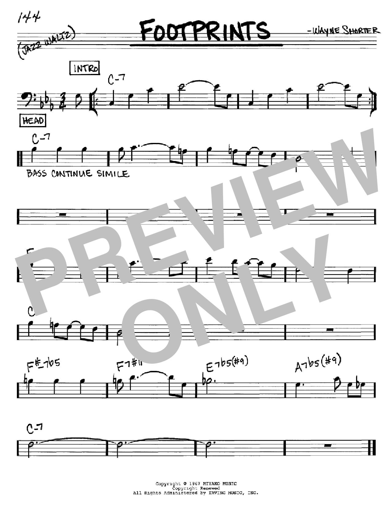 Partition autre Footprints de Wayne Shorter - Real Book, Melodie et Accords, Inst. En cle de Fa