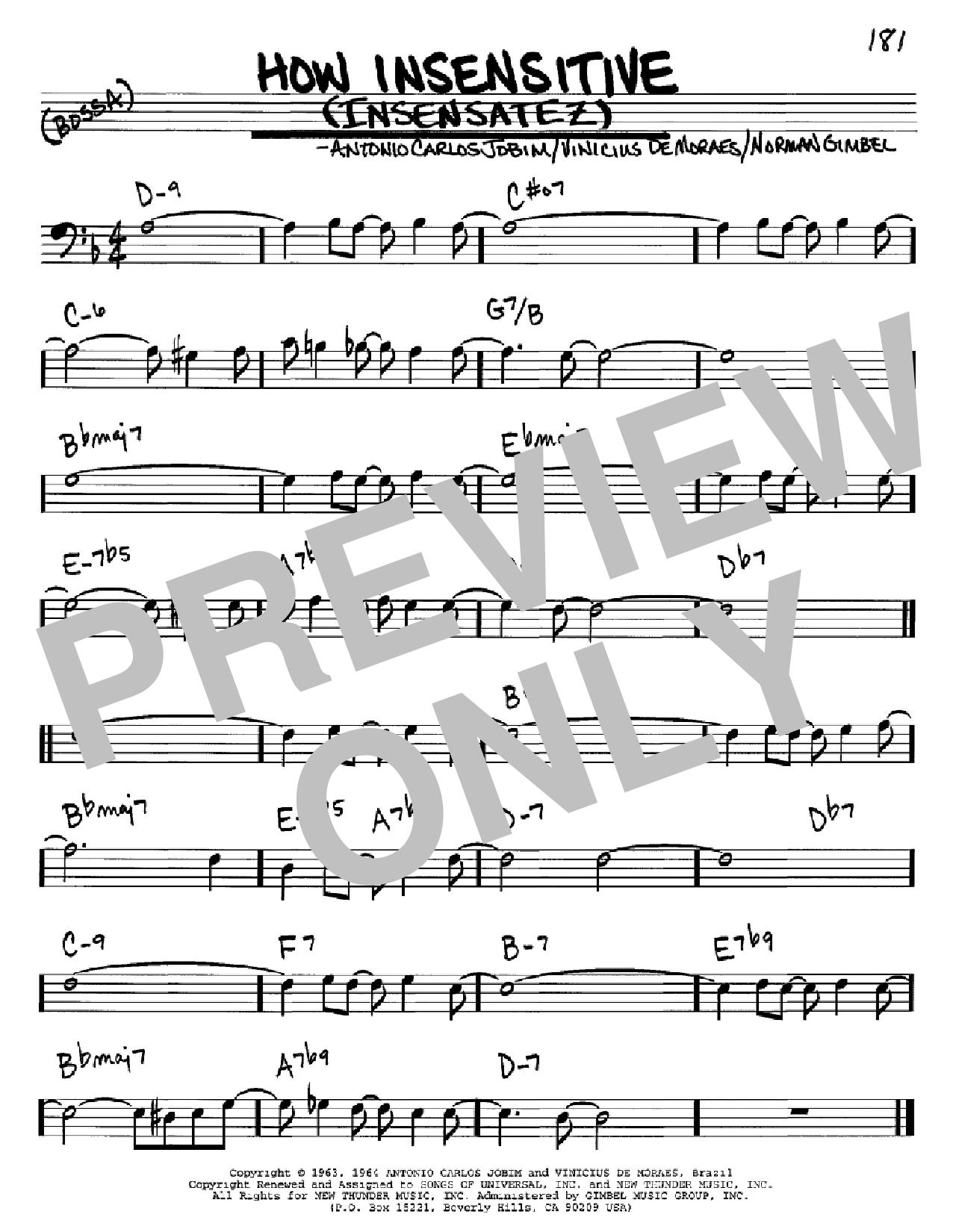 Partition autre How Insensitive (Insensatez) de Antonio Carlos Jobim - Real Book, Melodie et Accords, Inst. En cle de Fa