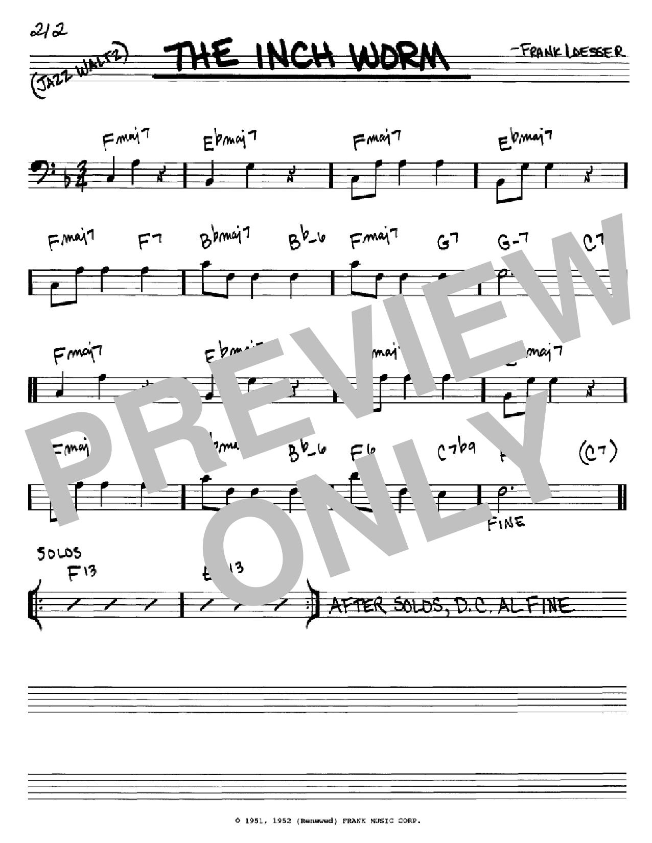Partition autre The Inch Worm de Frank Loesser - Real Book, Melodie et Accords, Inst. En cle de Fa