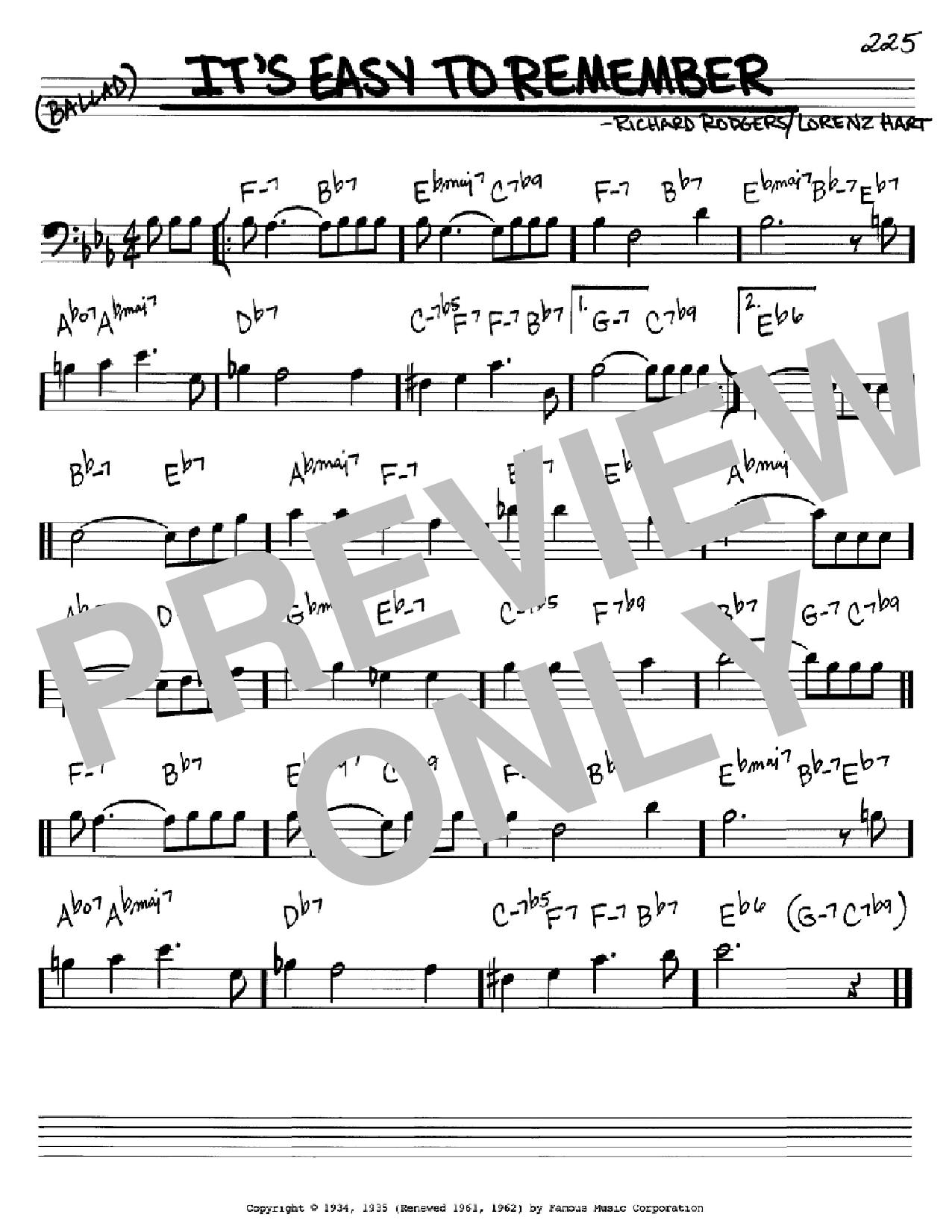 Partition autre It's Easy To Remember de Rodgers & Hart - Real Book, Melodie et Accords, Inst. En cle de Fa