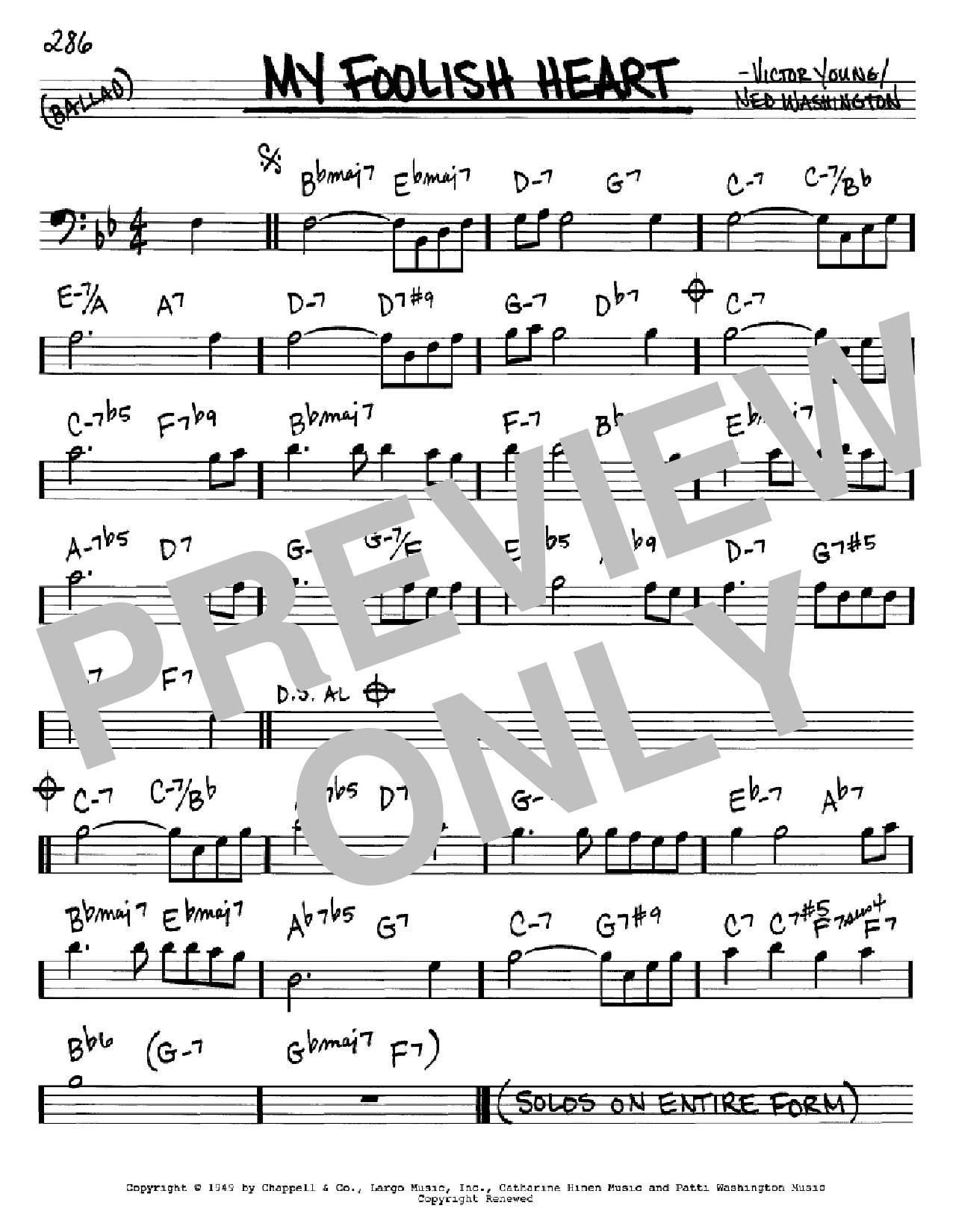 Partition autre My Foolish Heart de Ned Washington - Real Book, Melodie et Accords, Inst. En cle de Fa