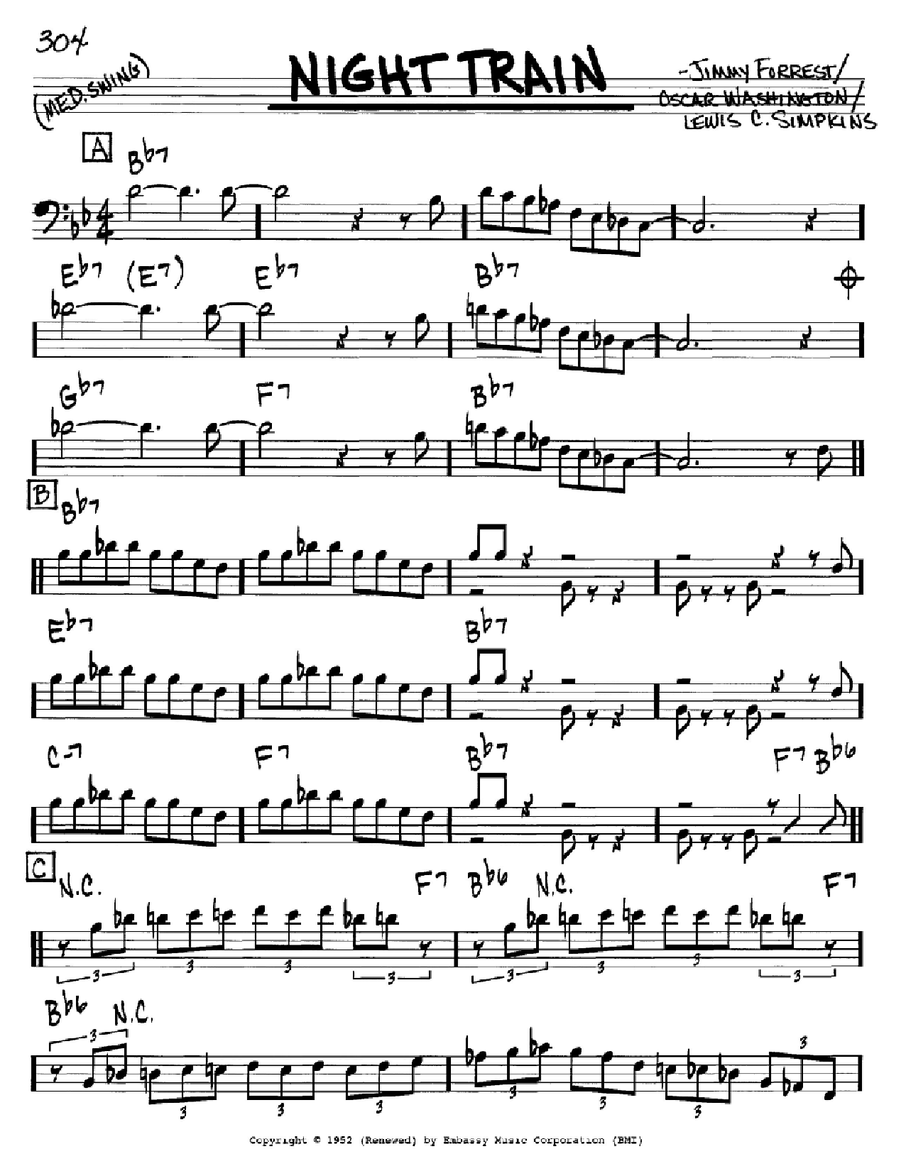 Night Train sheet music for voice and other instruments (Bass Clef ) by Oscar Washington